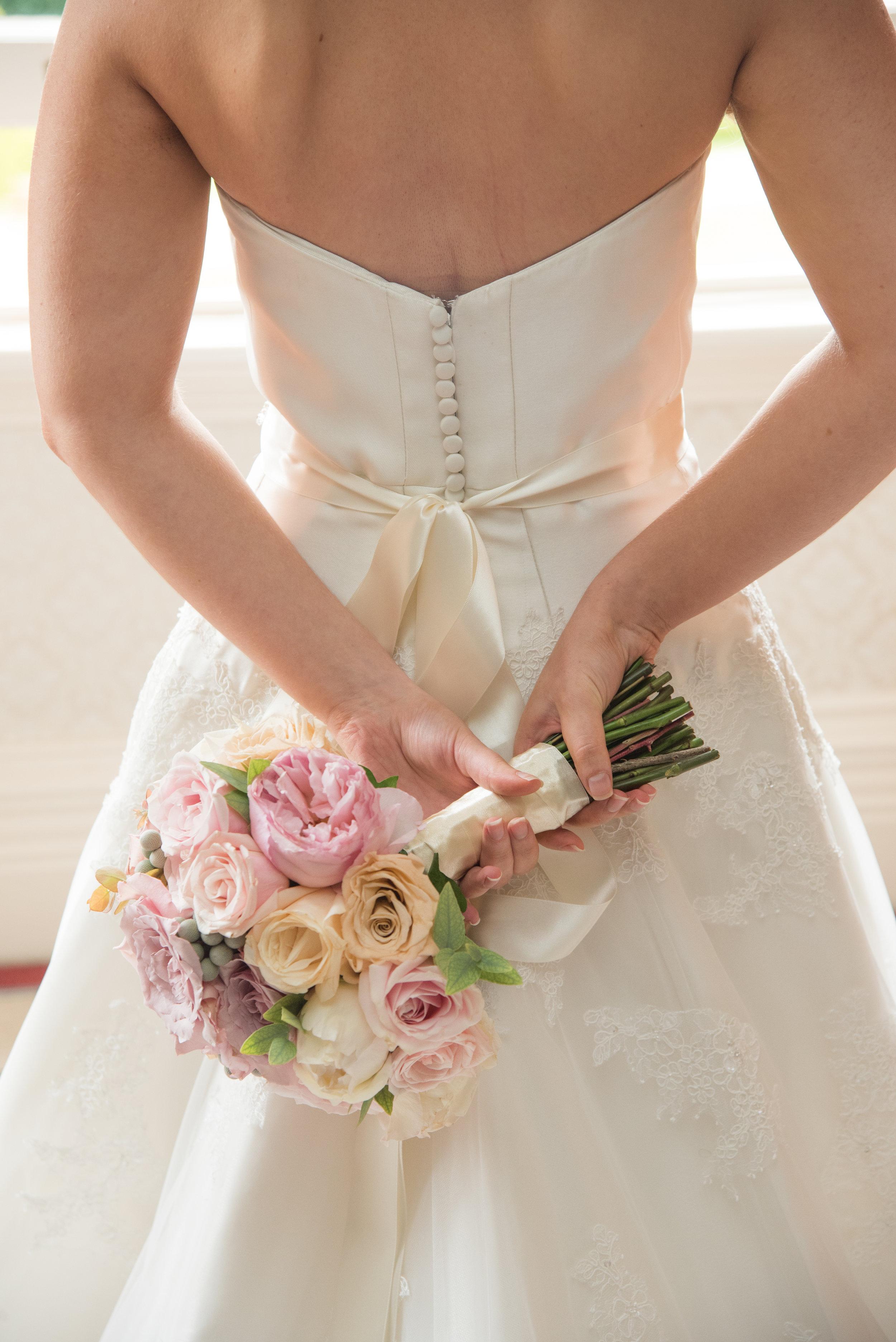 Bride with bouquet Highbury Hall Birmingham