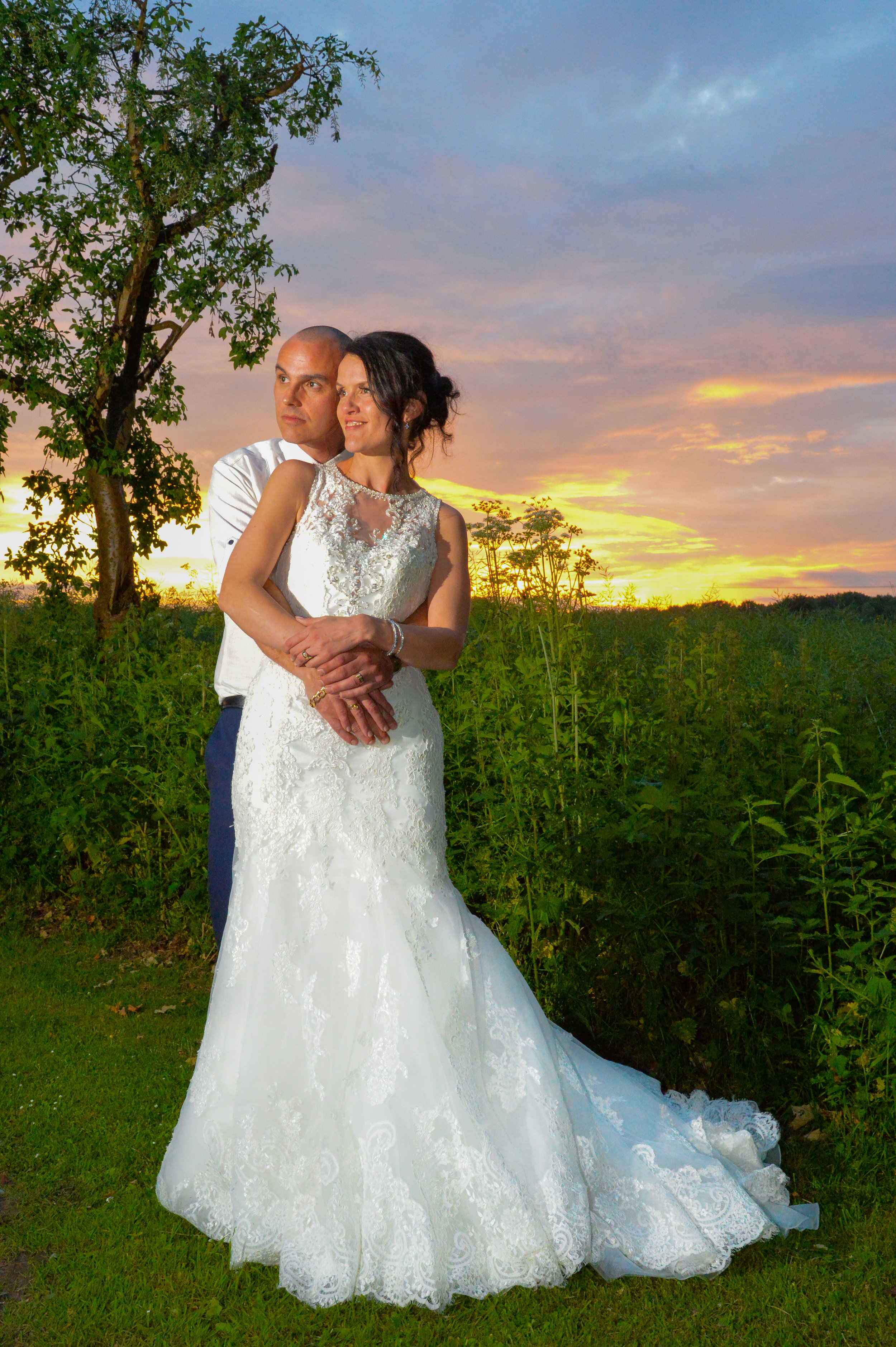 Bridal couple sunset at Brandon Hall Hotel Coventry