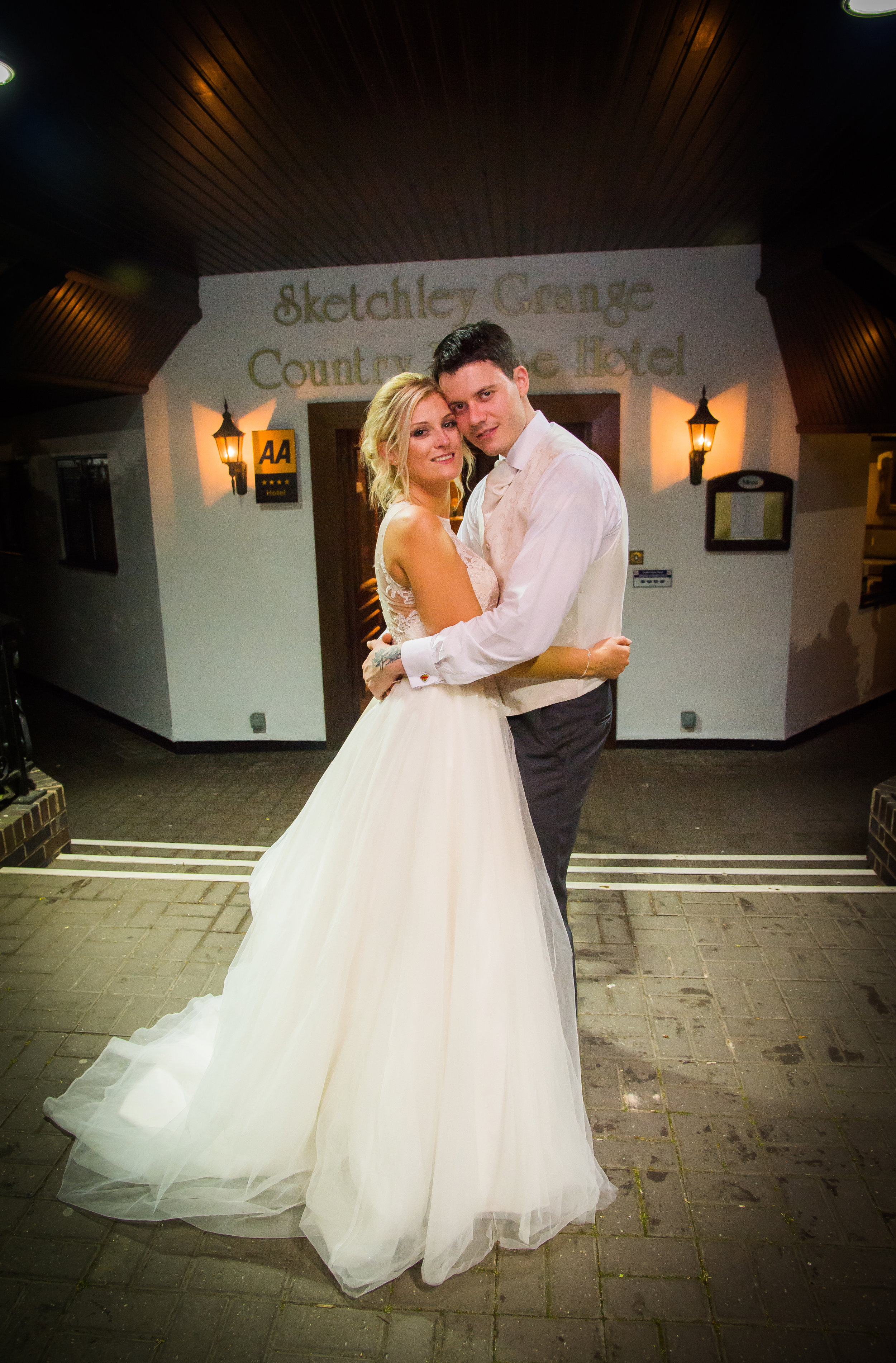 Bride and groom evening Sketchley Grange Hotel Leicestershire