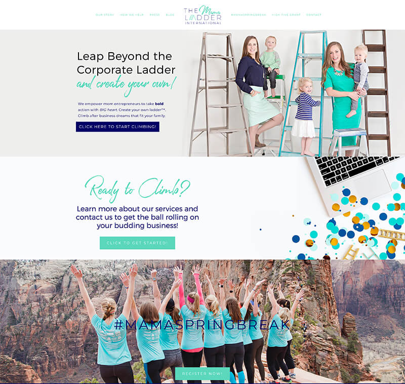 The Mama Ladder - Website URL: https://themamaladder.com/Designed by: Anjelica DezelTemplate family used: Pacific