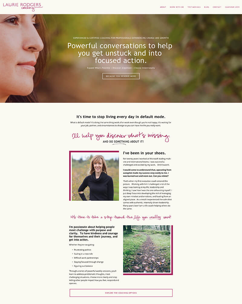 Laurie Rodgers Coaching - Website URL: http://www.laurierodgers.com/Designed by: Simple & Soulful CreativeTemplate family used: Bedford