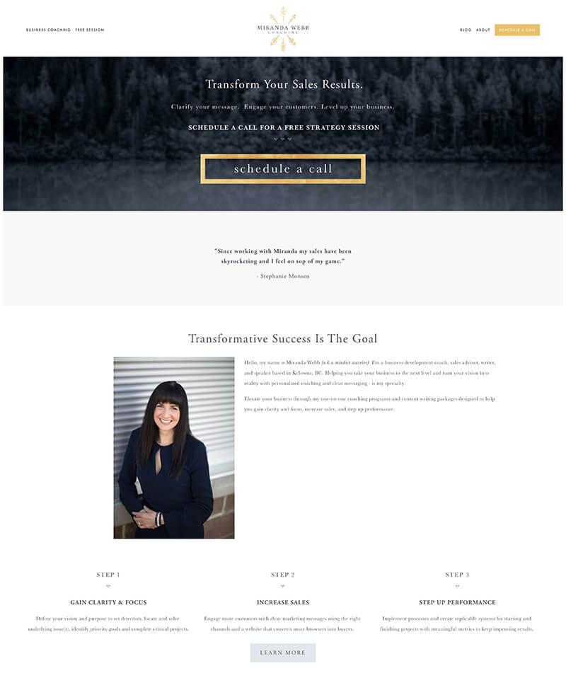Miranda Webb Coaching - Website URL: https://www.mirandawebb.com/Designed by: Dapper FoxTemplate family used: Brine