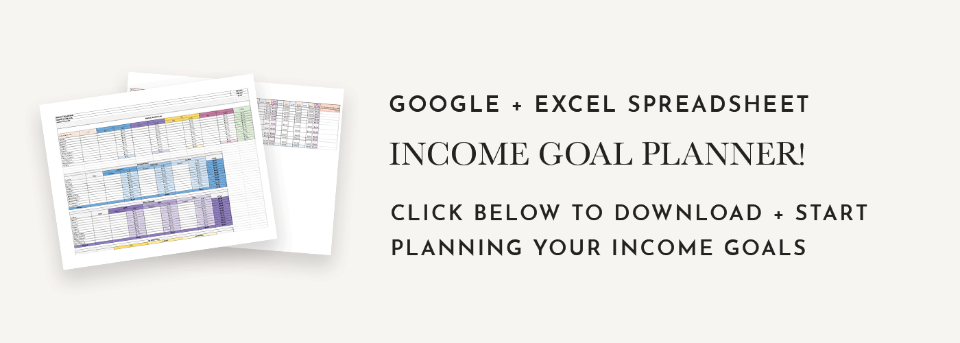 The 2019 Income Planner is a set of 4 spreadsheets that helps you set revenue goals and track your income and expenses.  Stop stressing about your income and make a realistic plan that will help you not only achieve your revenue goals but also crush them. Spreadsheets are in Google Sheets and Excel format and include a video tutorial.  It's time for you to have your most profitable year yet.