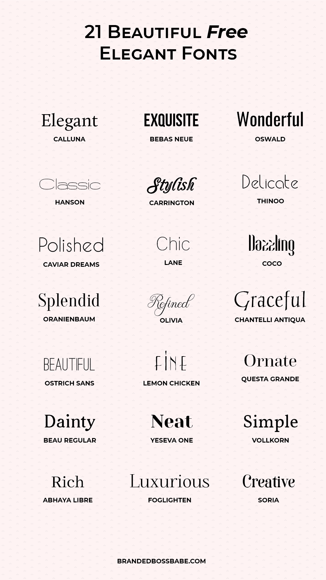 Download these 20 beautiful and free elegant fonts for your logo and brand design. #branding #logodesign #fonts #brandedbossbabe