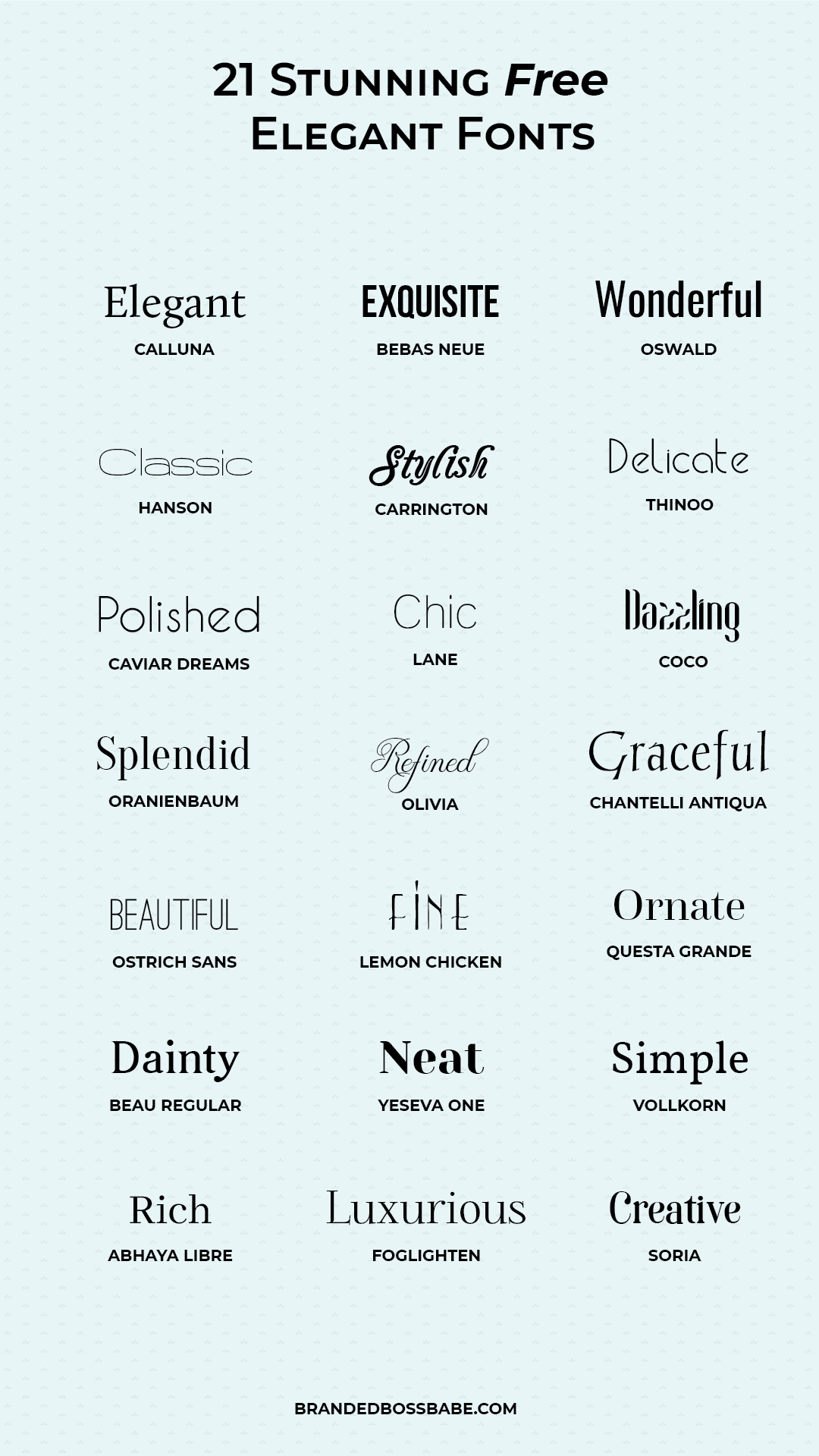 Check out these beautiful elegant fonts that are free to download and use. #logodesign #elegantfonts
