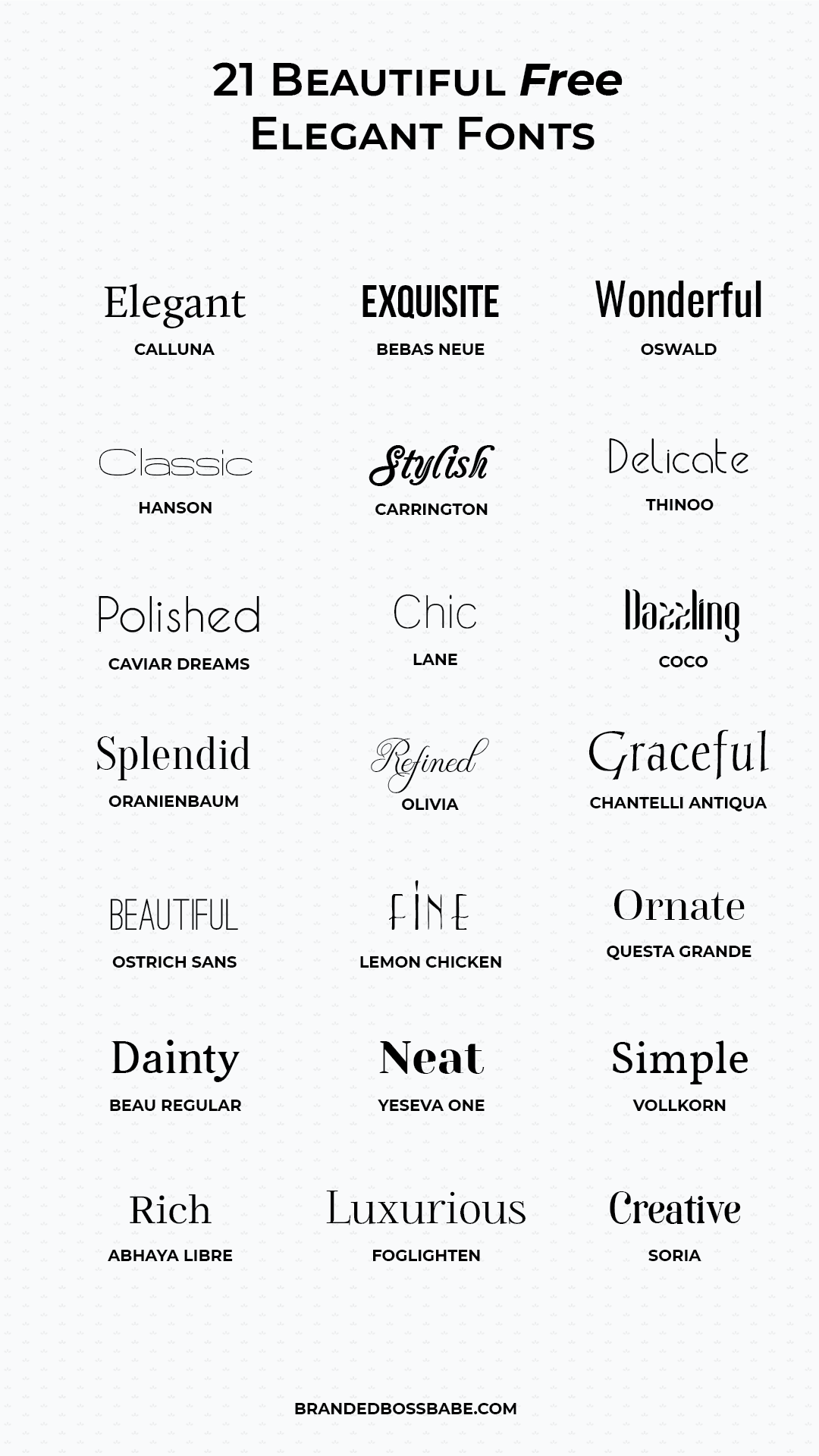Download free and beautiful elegant fonts for your brand. #freefonts #logodesign #brandedbossbabe #graphicdesign #typography