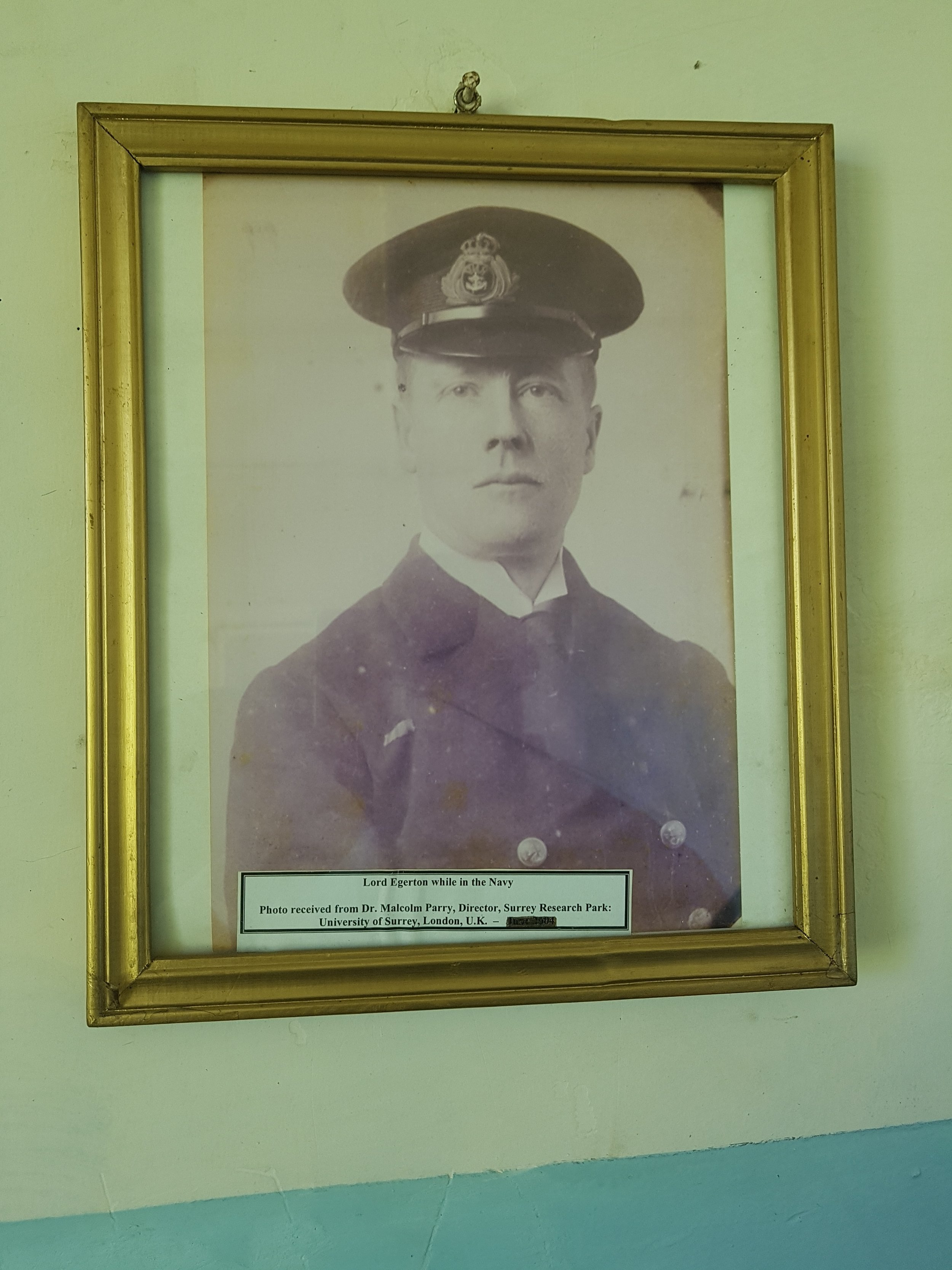 Lord Egerton while in the Navy.
