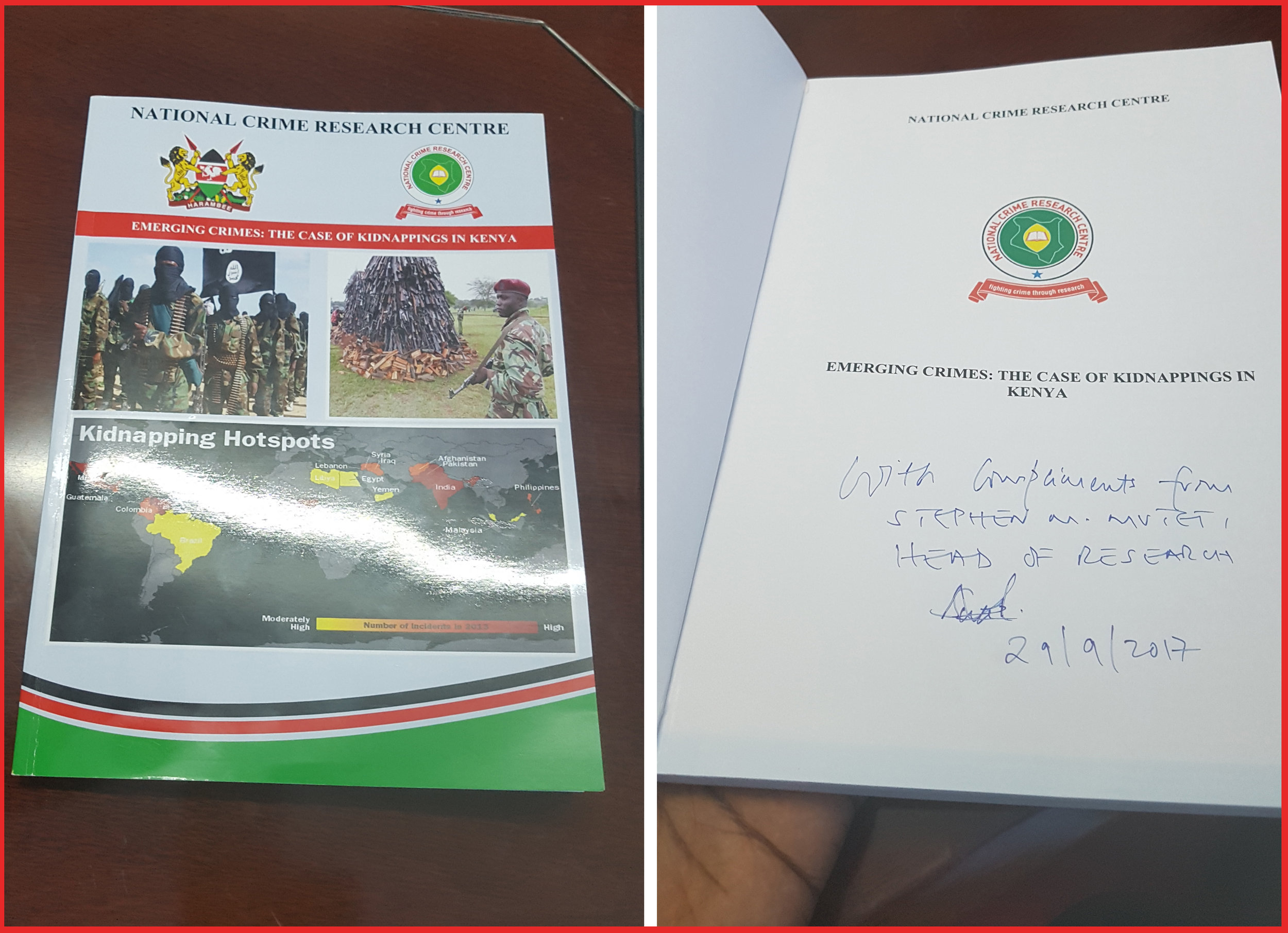 Glad to have been given a limited hardcopy version of the report, signed by Stephen Muteti, Head of Research at NCRC.