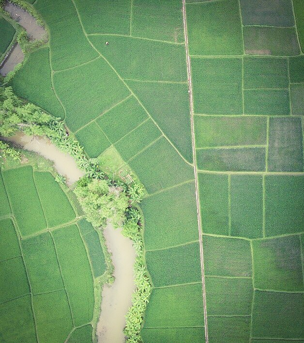 Beautiful rice paddies in magical Mai Chau - shot from the drone