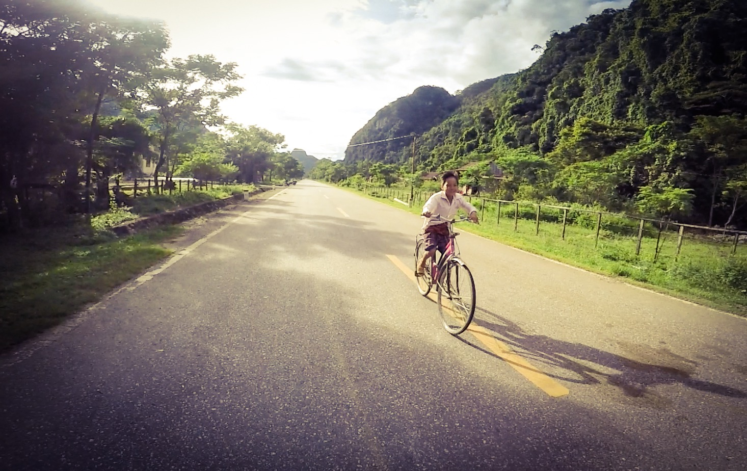 My friend with a big smile who rode with me for a while, I wished I could speak Vietnamese