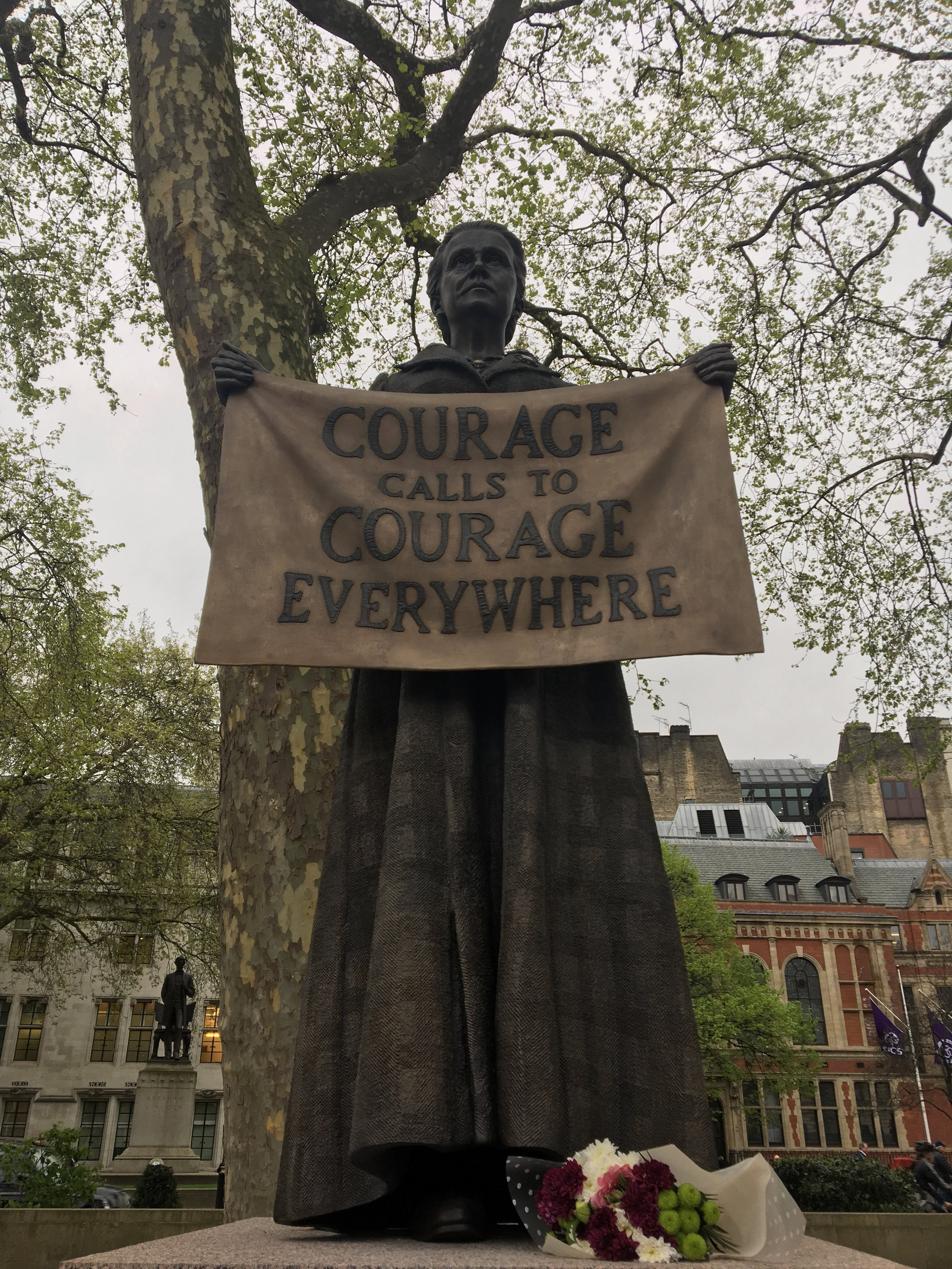 The statue of Millicent Fawcett in Parliament Square, London