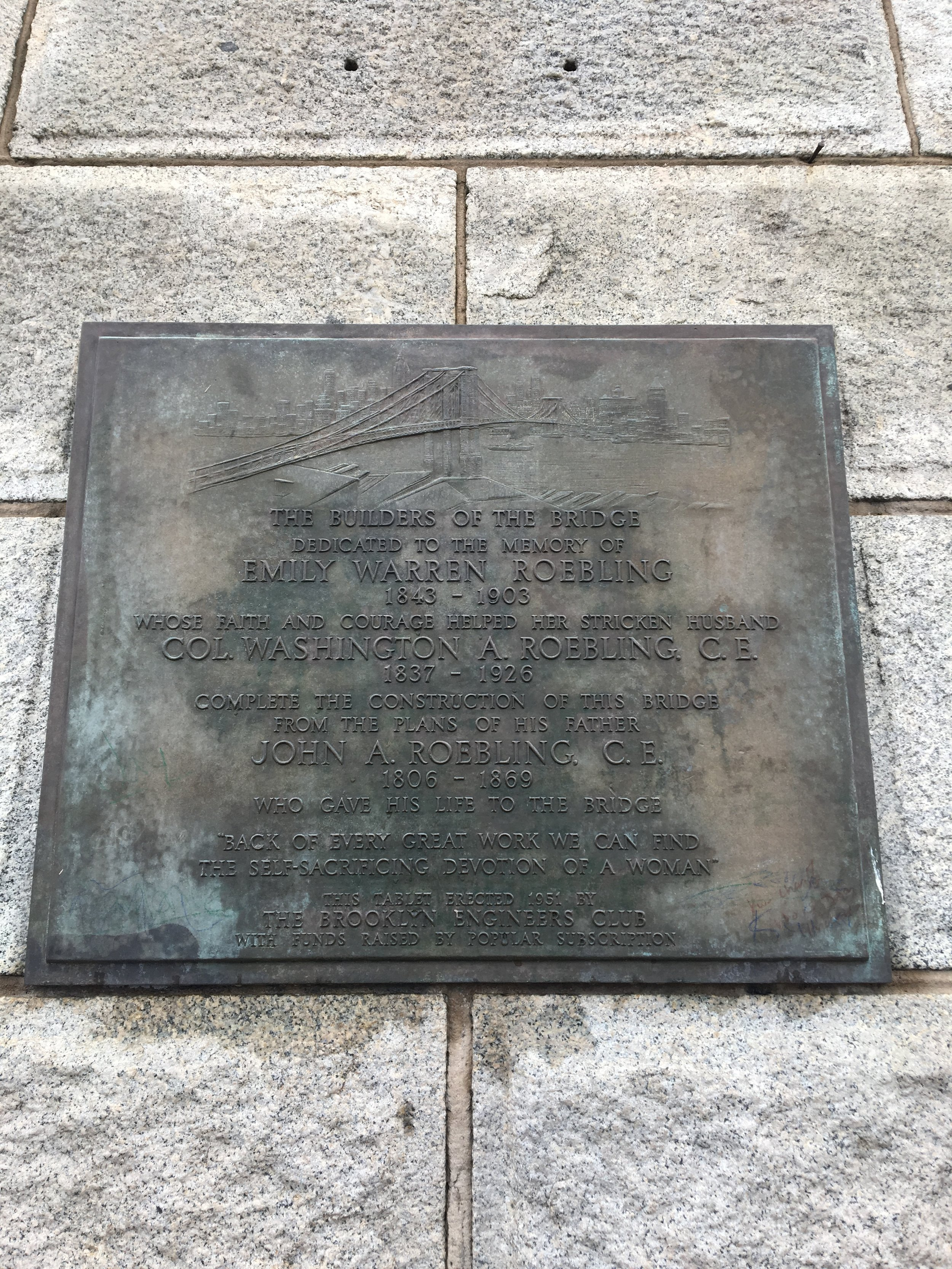 Emily Warren Roebling plaque on Brooklyn Bridge, NY