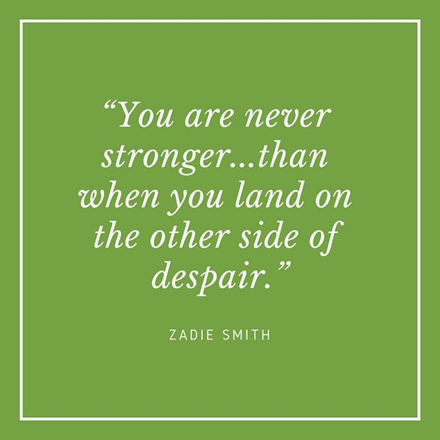 """""""You are never stronger...than when you land on the other side of despair."""" - Zadie Smith⠀⠀⠀⠀⠀⠀⠀⠀⠀ ⠀⠀⠀⠀⠀⠀⠀⠀⠀ My final Unconventional Mentor this week, from the world of essayists, is Zadie Smith. She is very much a writer of my time, she is just a few years older than me, but like Rebecca West who I featured on Wednesday, she is another writer who I've heard lots about but have never read, so I am adding her books to my ever growing list. ⠀⠀⠀⠀⠀⠀⠀⠀⠀ ⠀⠀⠀⠀⠀⠀⠀⠀⠀ There were lots of great quotes to choose from, so I will probably feature her again in this project, but this one really spoke to me. I have taken the leap from full time employment to being part self employed and whilst it has been thrilling and empowering, it has also been a little bit scary. When I look back to the final few months of being full time employed I now realise that I was not in a good place. I wasn't happy in my work and it was really hard to see how things would change or get better. Fast forward 6 months and I feel like I am so much happier and in control of my life. I am still having wobbles about my work, there are definitely ups and downs but those few months of despair have made me so much stronger. I know that any time I have felt very low or down about a situation it has eventually got better. It is hard to remember when you are in the middle of something shitty that you have weathered tough things before, but things do change. ⠀⠀⠀⠀⠀⠀⠀⠀⠀ ⠀⠀⠀⠀⠀⠀⠀⠀⠀ I have loved featuring people who write essays this week, I find an essay is a much more manageable thing to read than a book and I love having my point of view challenged. Who are your favourite essaysists? #zadiesmith #whiteteeth #essayist #womenwhowrite #inspiringwomen #careeradvice #lifeadvice #toughtimes #unconventionalmentors"""