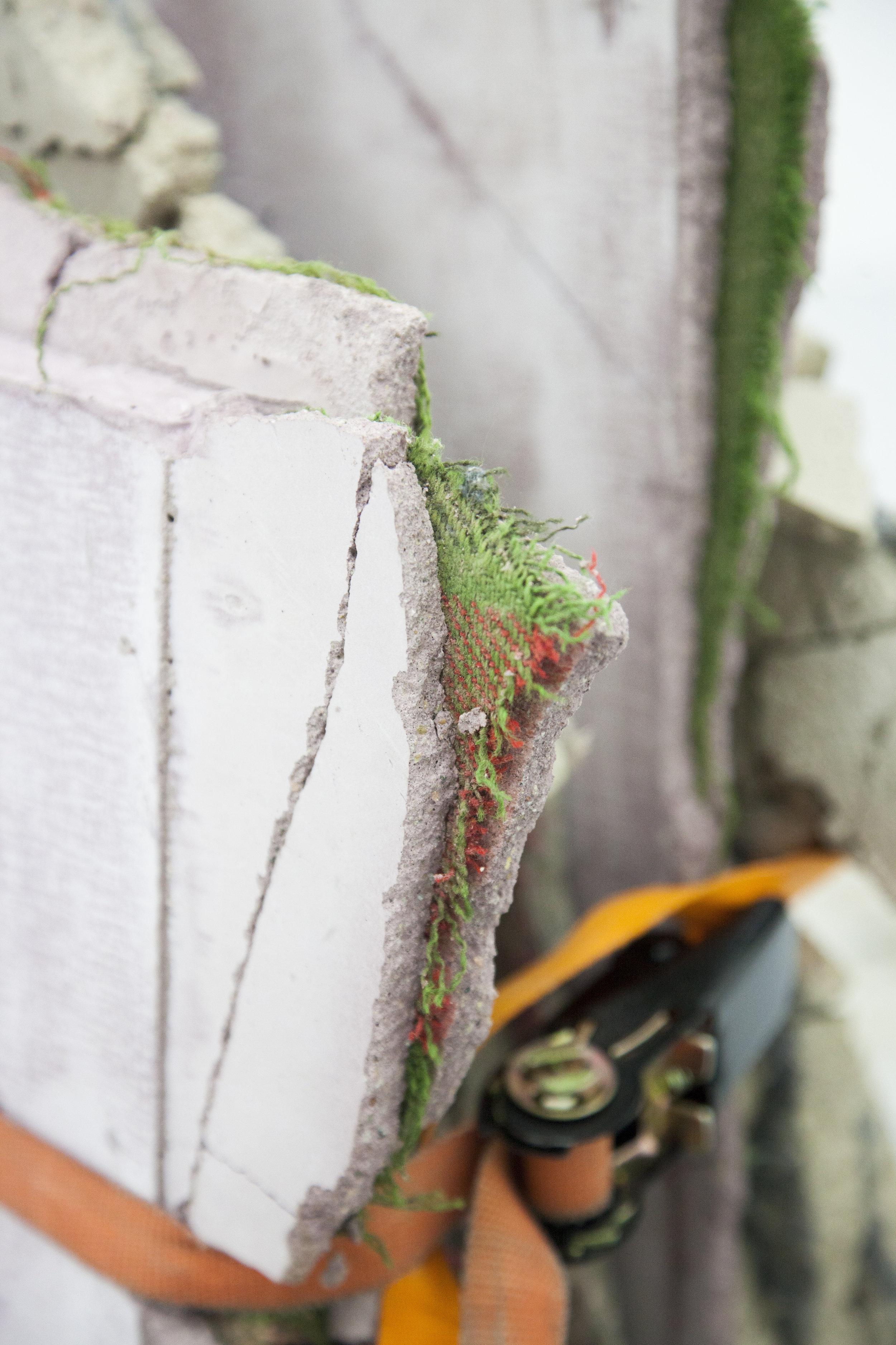 detail,Loosing the phantasmic support, concrete, various textile, ratchets, metal, natural pigments, 2016