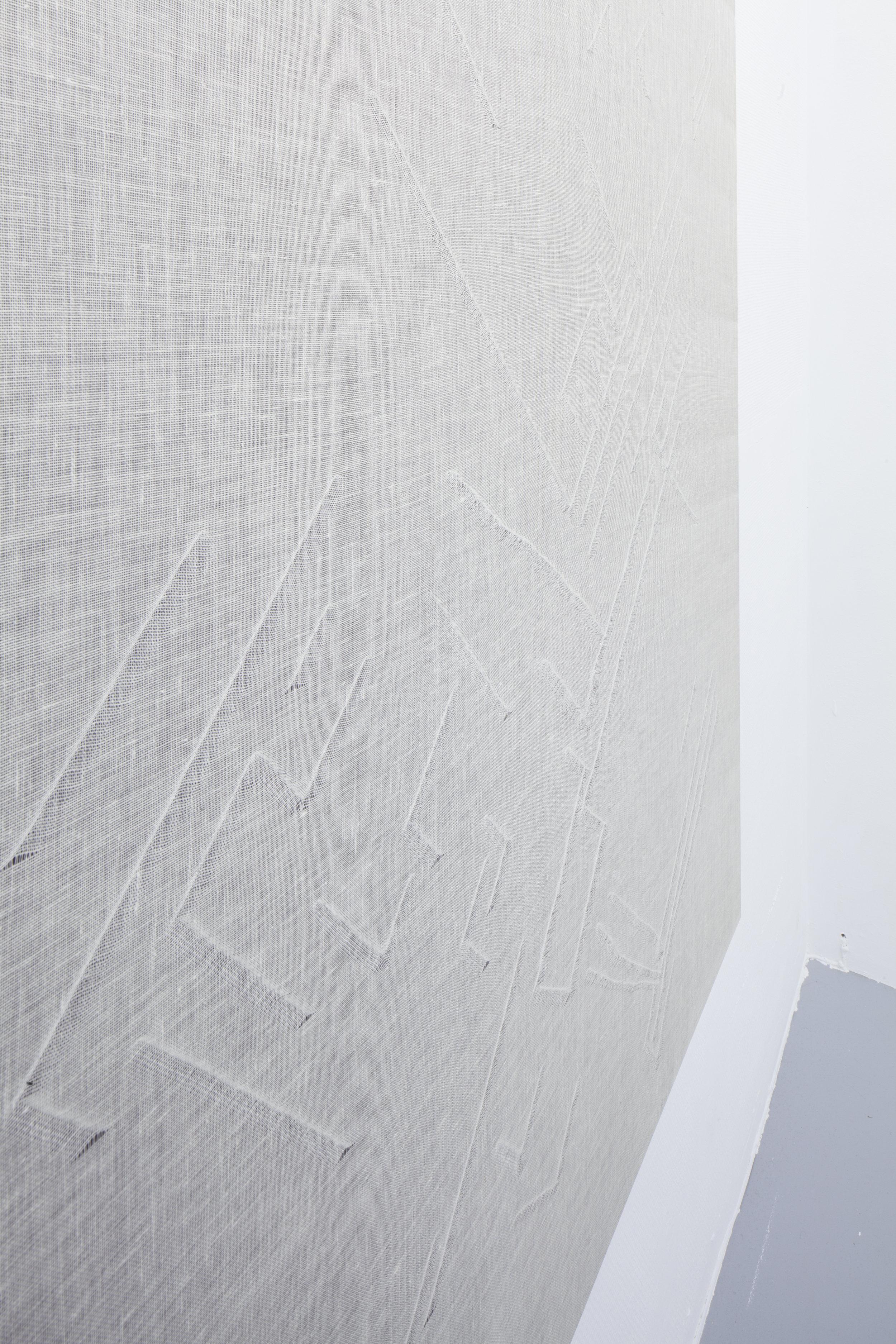 detail, Cortex, muslin fabric, cotton canvas wooden frame, 2016