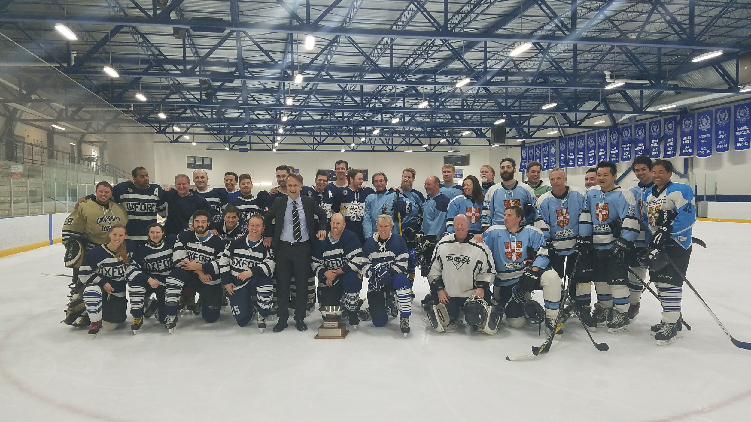 Oxford and Cambridge alumni teams after the 9th Annual Alumni Game in Toronto.