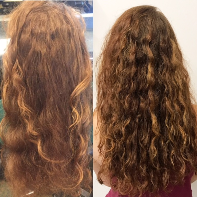 Before & after  Keratin Complex  on natural curly hair. After treatment,  we used UNITE 7seconds leave in detangler & let her hair air dry.  #iwokeuplikethis