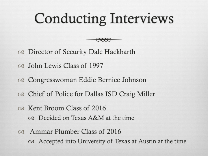 In this slide, I talked about who I decided to interview for the gun violence story and the importance of the sources you decide to talk to.