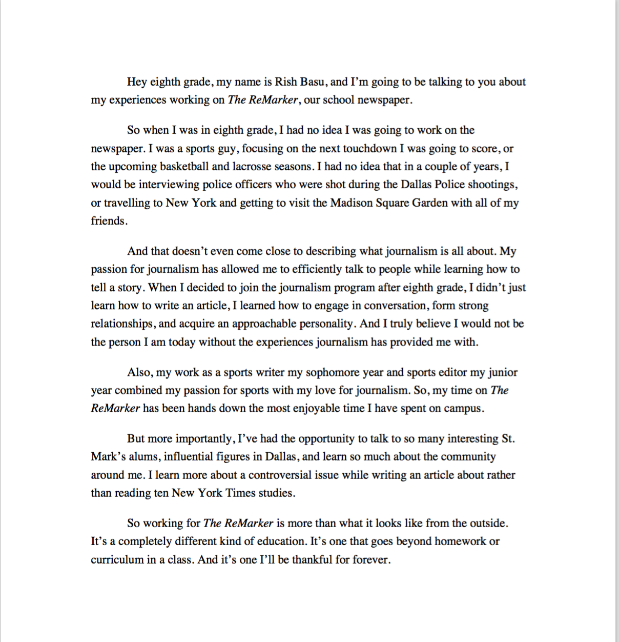 A transcript of the speech I gave to the eighth grade class before my Powerpoint presentation.