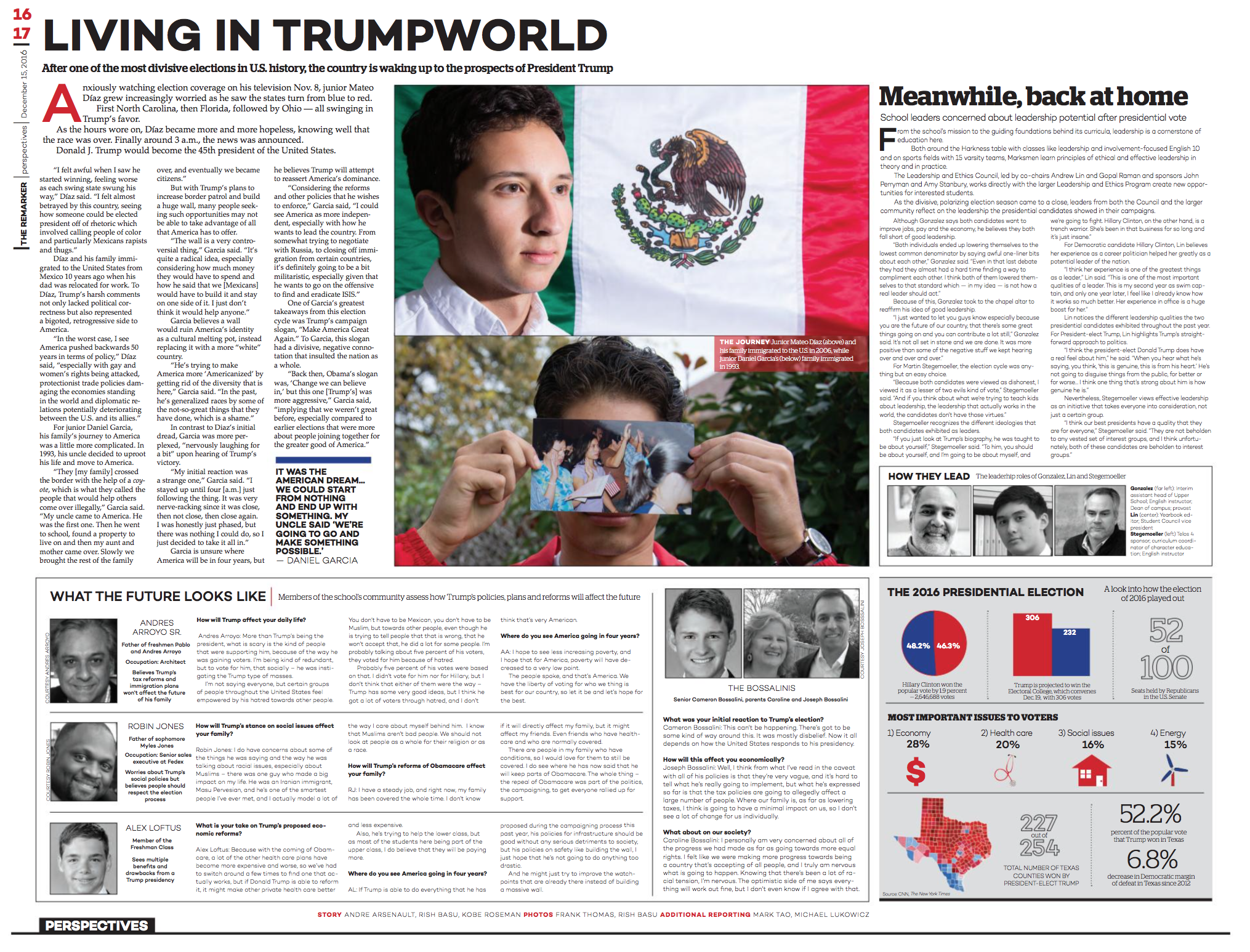 Designing this spread was somewhat tricky because it felt like I had too much content for the amount of space I was given. Nevertheless, I separated different parts of the story by using a dominant visual in the middle of the spread,adding a secondary headline and creating an infographic with headshots of the people I interviewed.