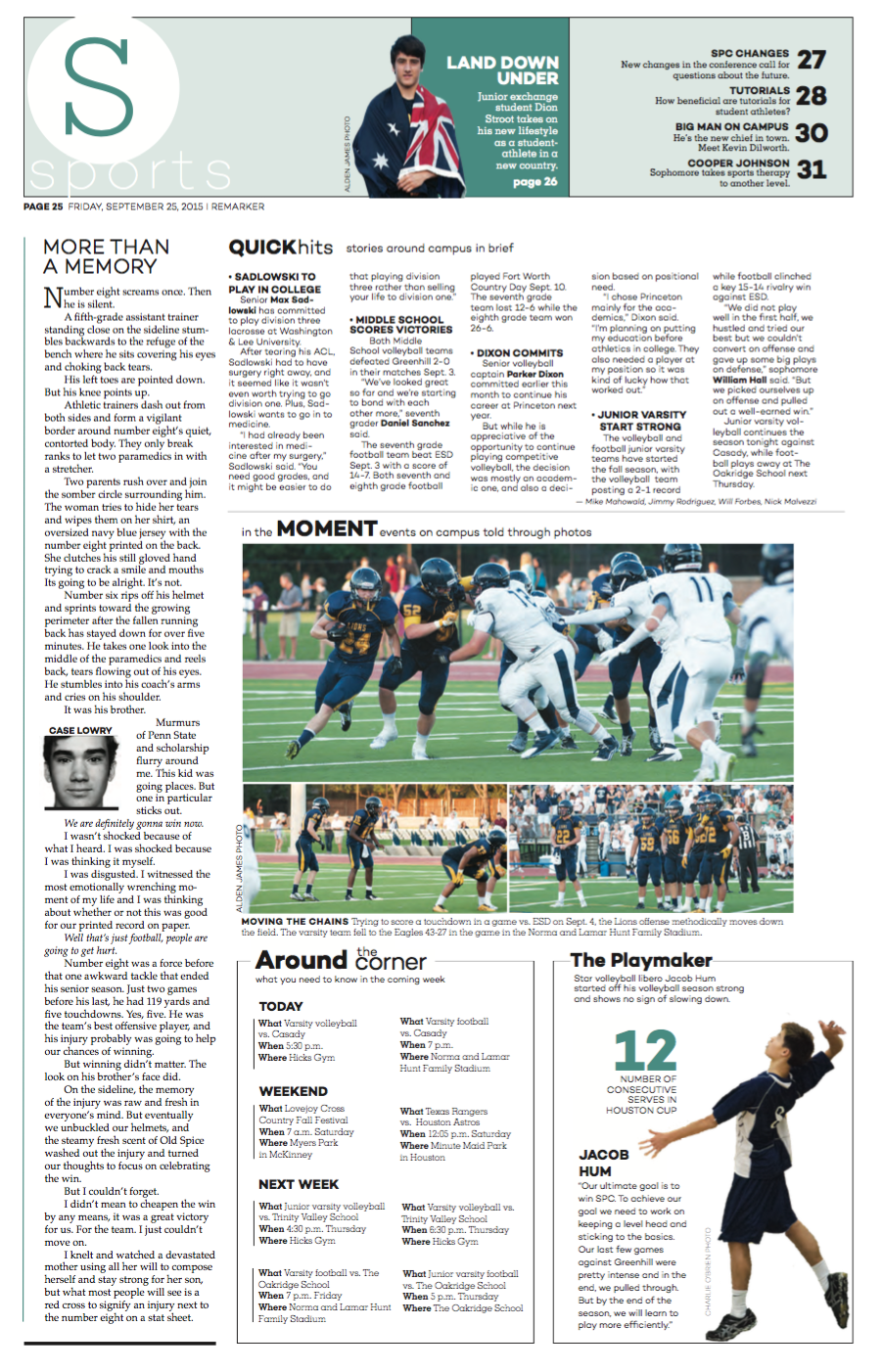 The upfront page is the first page of each section, and it used to tease the rest of the section, highlight upcoming events and inform the readers of events on campus. I designed this upfront page for the September issue during my junior year.