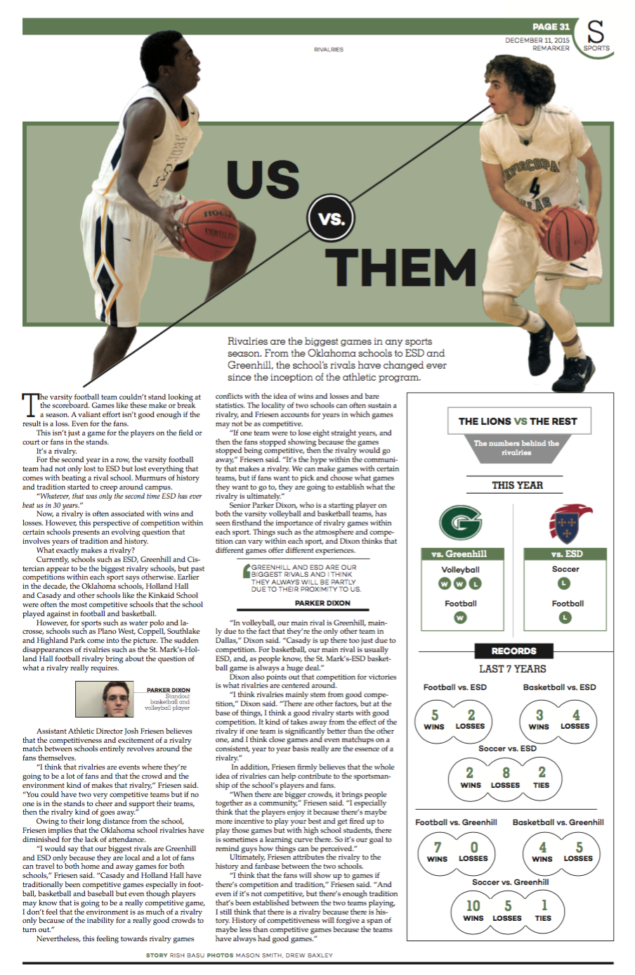 On this page, the contents of the story and packaging of the article establish a strong connection. The duality of the headline package and interactive infographic immediately give the reader an understanding of what the story is about: rivalries.