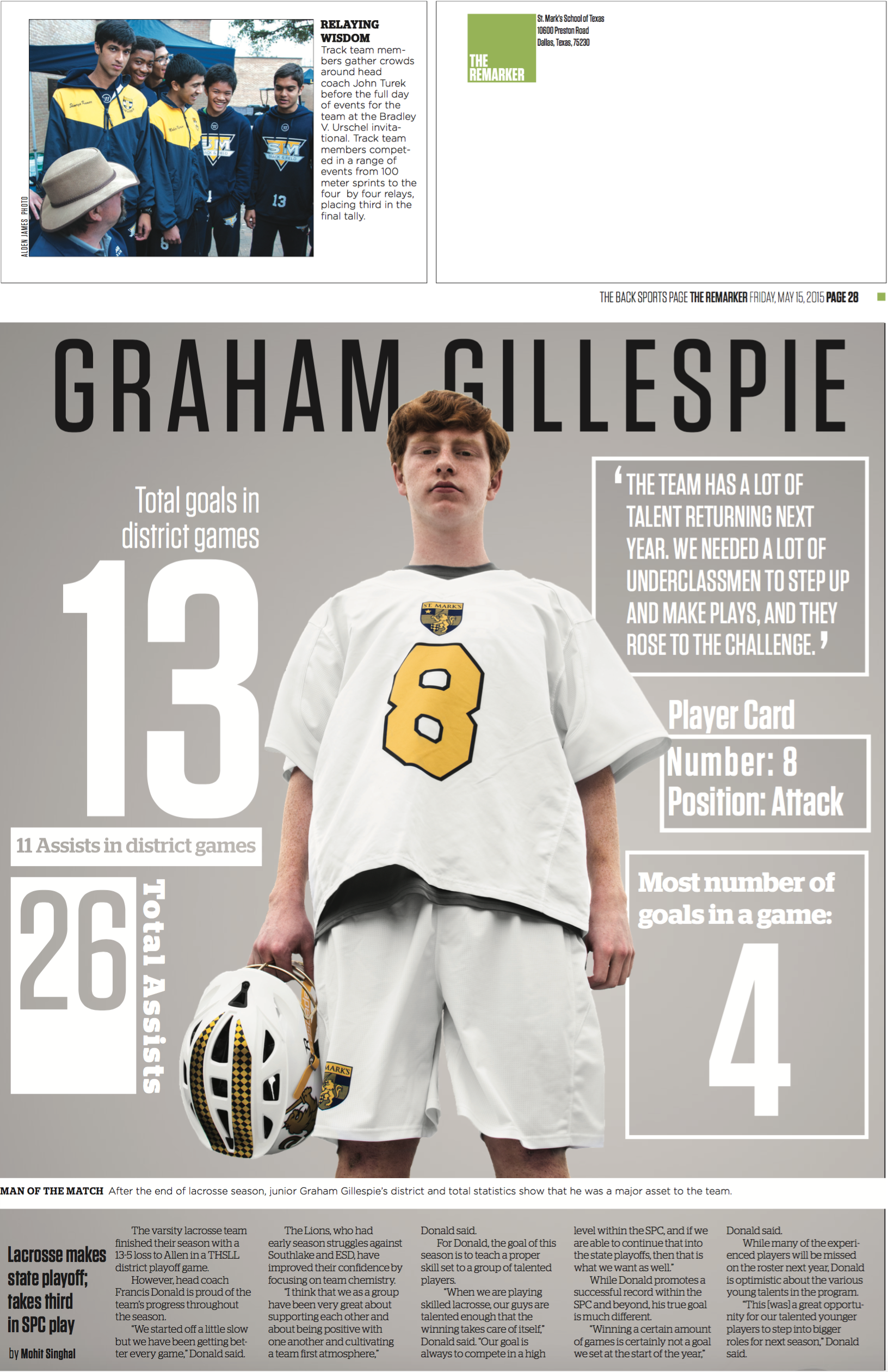 Junior Graham Gillespie was playing especially well during lacrosse season, so I compiled his statistics and presented them in a dynamic format. Having been a fan of  Sports Illustrated Magazine  for years, I have always wanted to do a sports feature on an athlete with additional statistics and information.   This page won first place for Typography: the look of one page in CSPA's Gold Circle Awards.