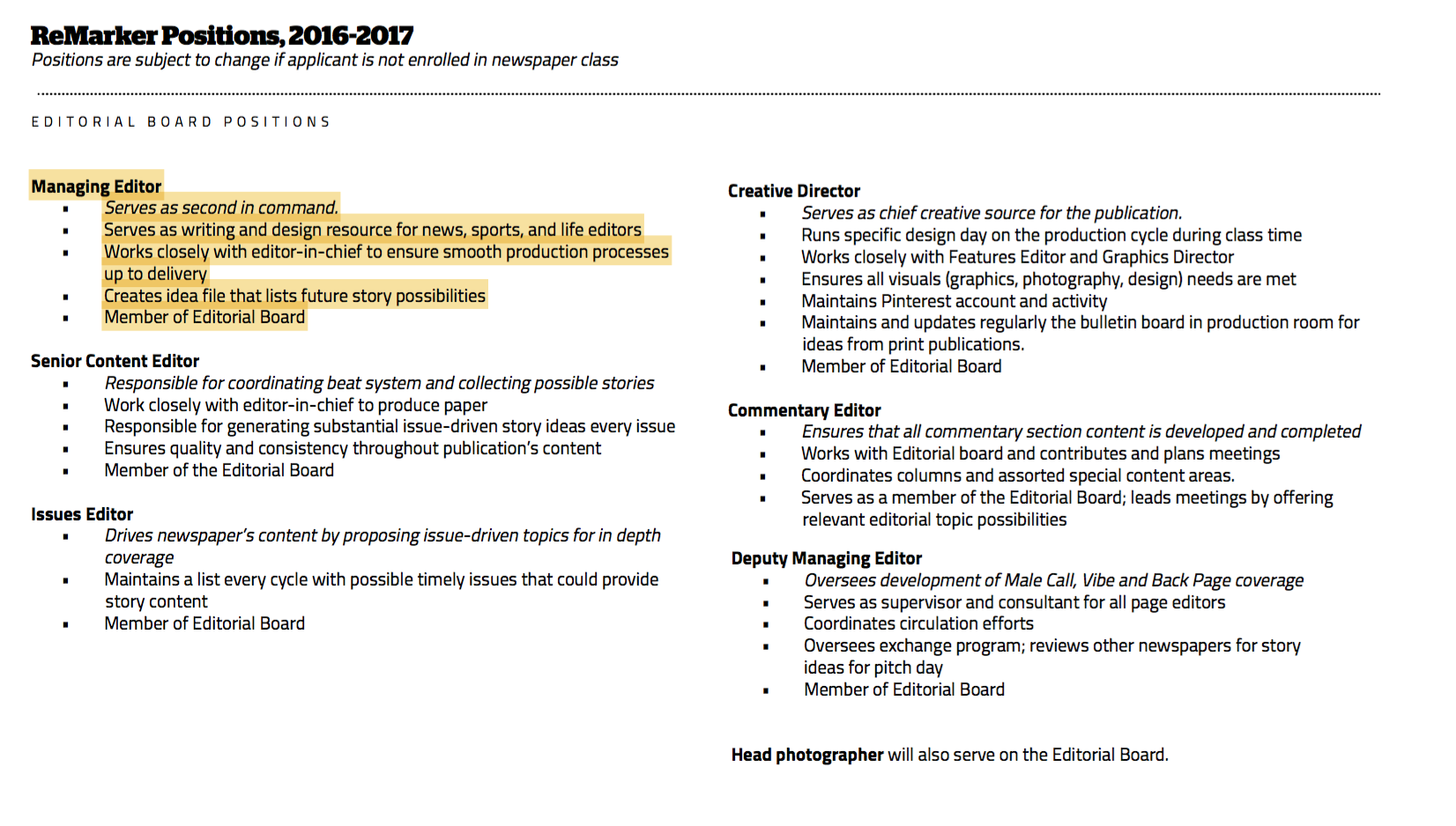 Click to enlarge and read my responsibilities as managing editor.