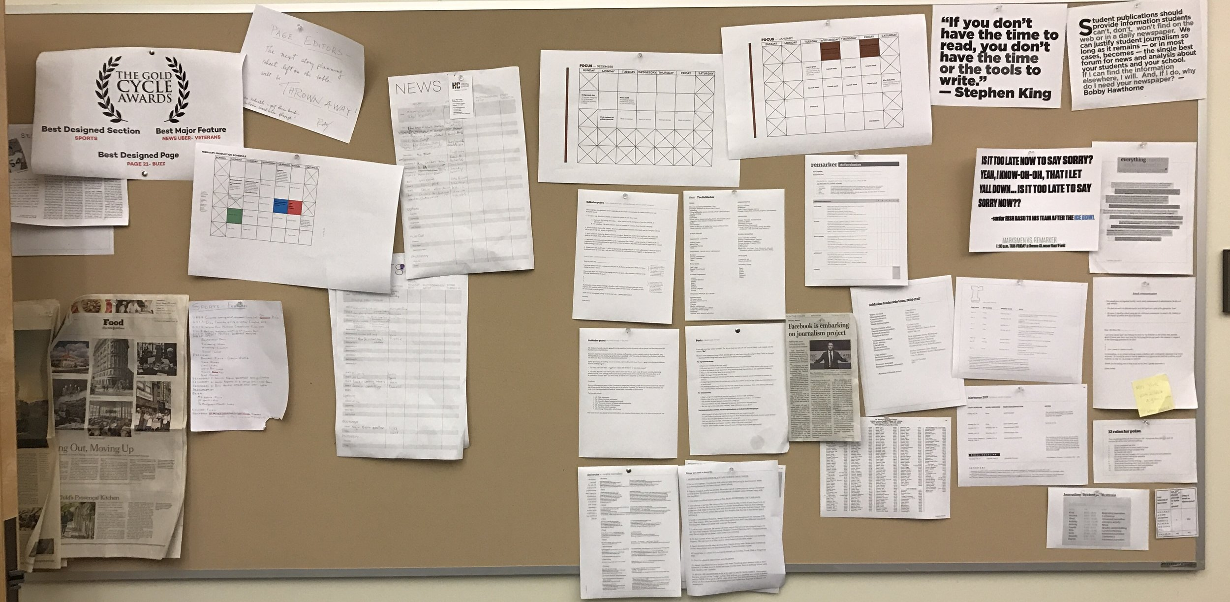 It is my job also that the bulletin board, or wall of assignments, remains maintained and relevant to the production of the newspaper.