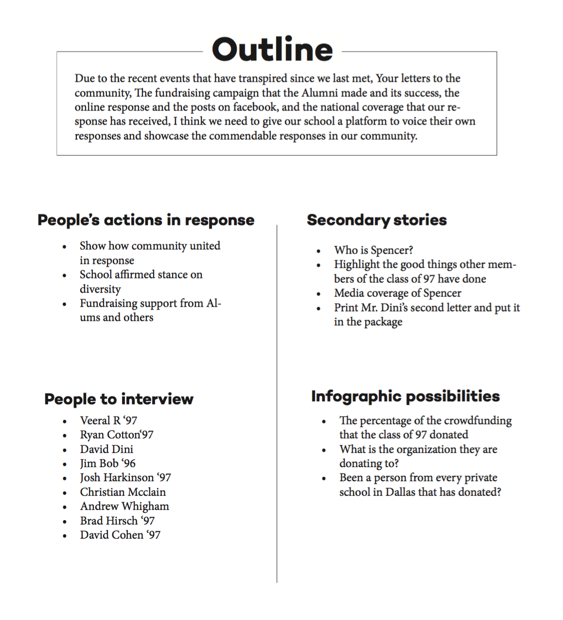 Click to enlarge and read our story outline.