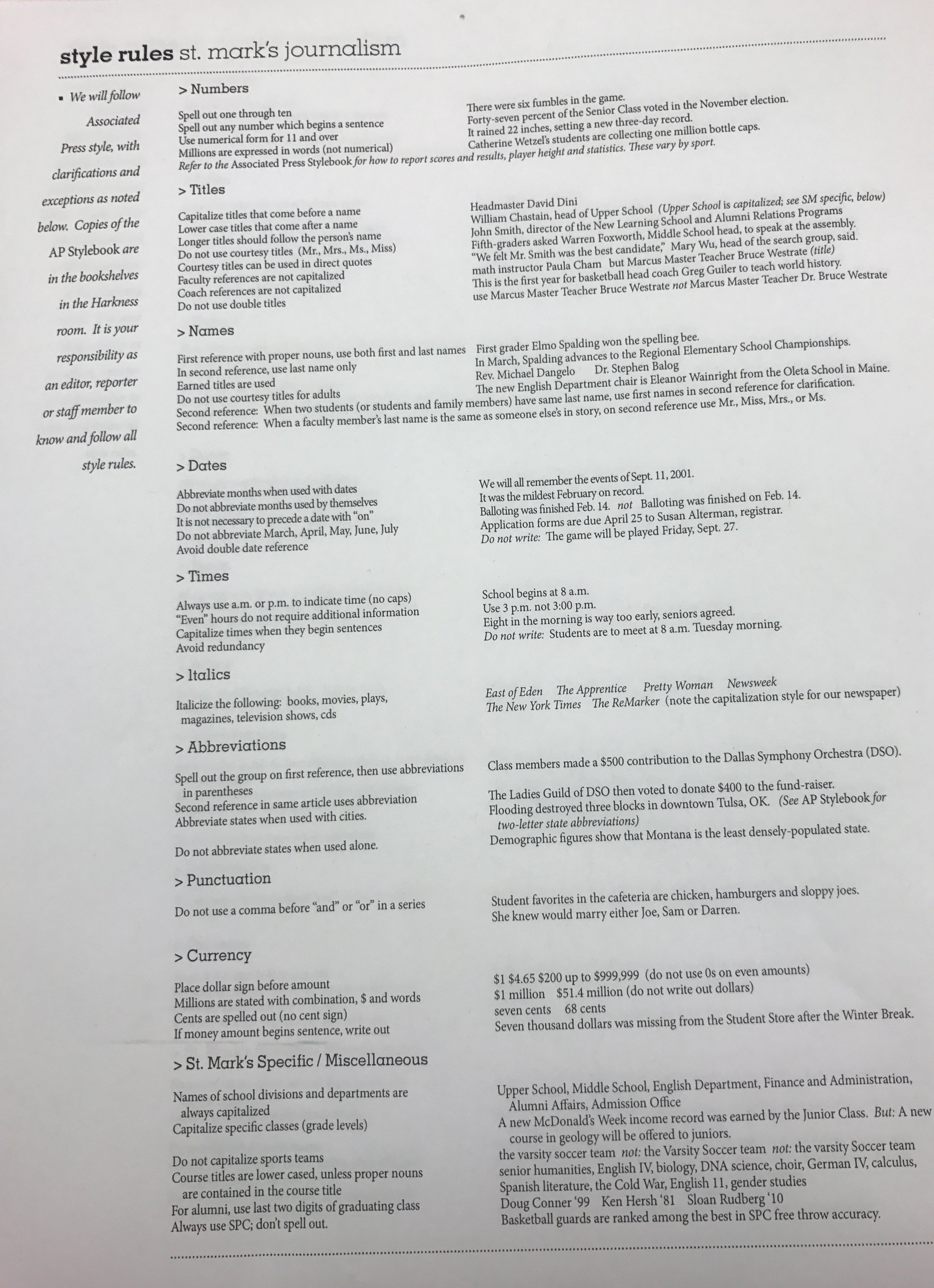 For specific categories that often pop up when writing stories, we follow the St. Mark's style rules sheet. It contains everything from how to indicate currency to specific, administrative titles.