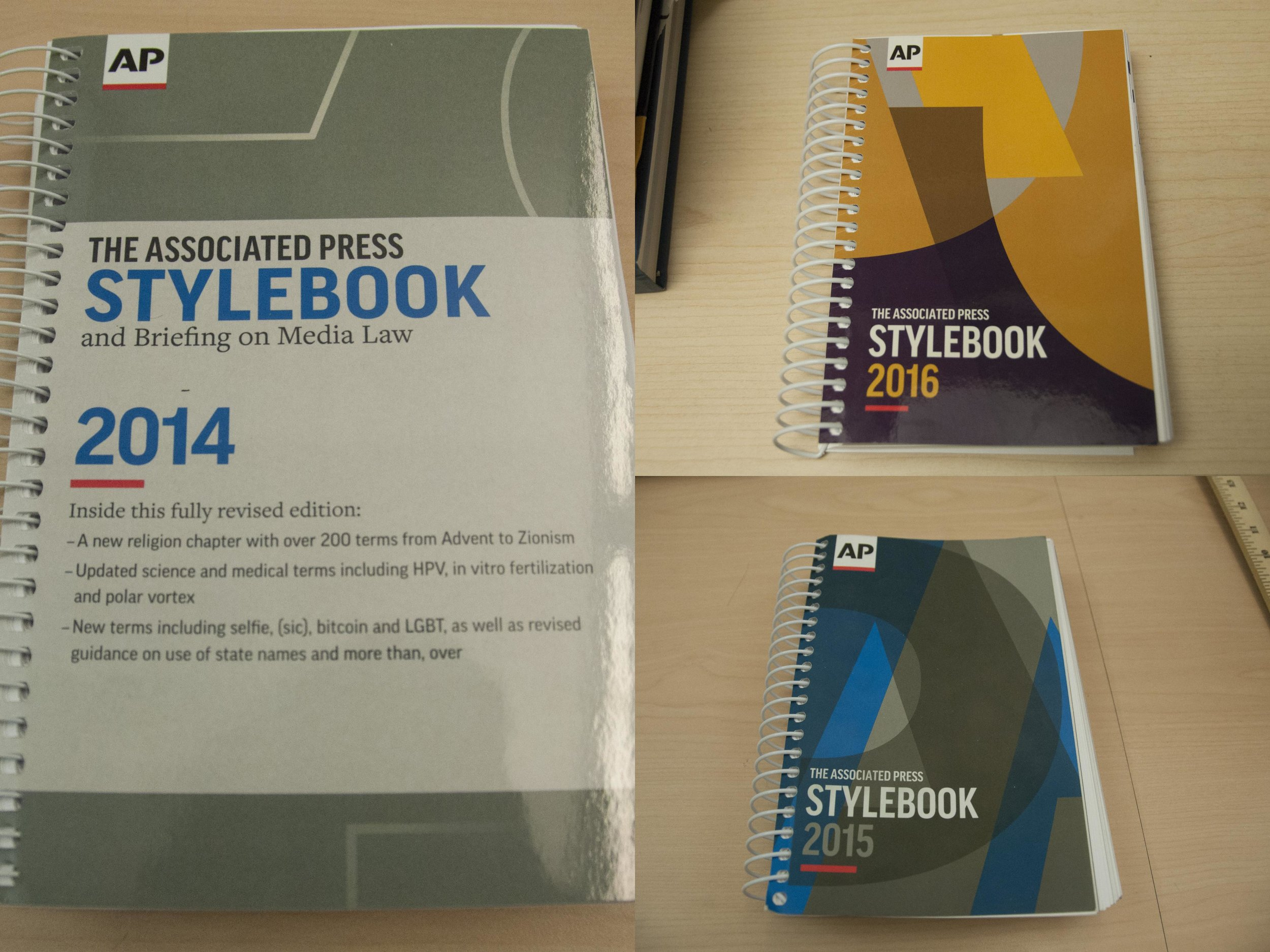 A collage of all of the AP stylebooks I have used over the past three years of editing stories for  The ReMarker . Around the publications suite, one can find over 20 copies of each book.
