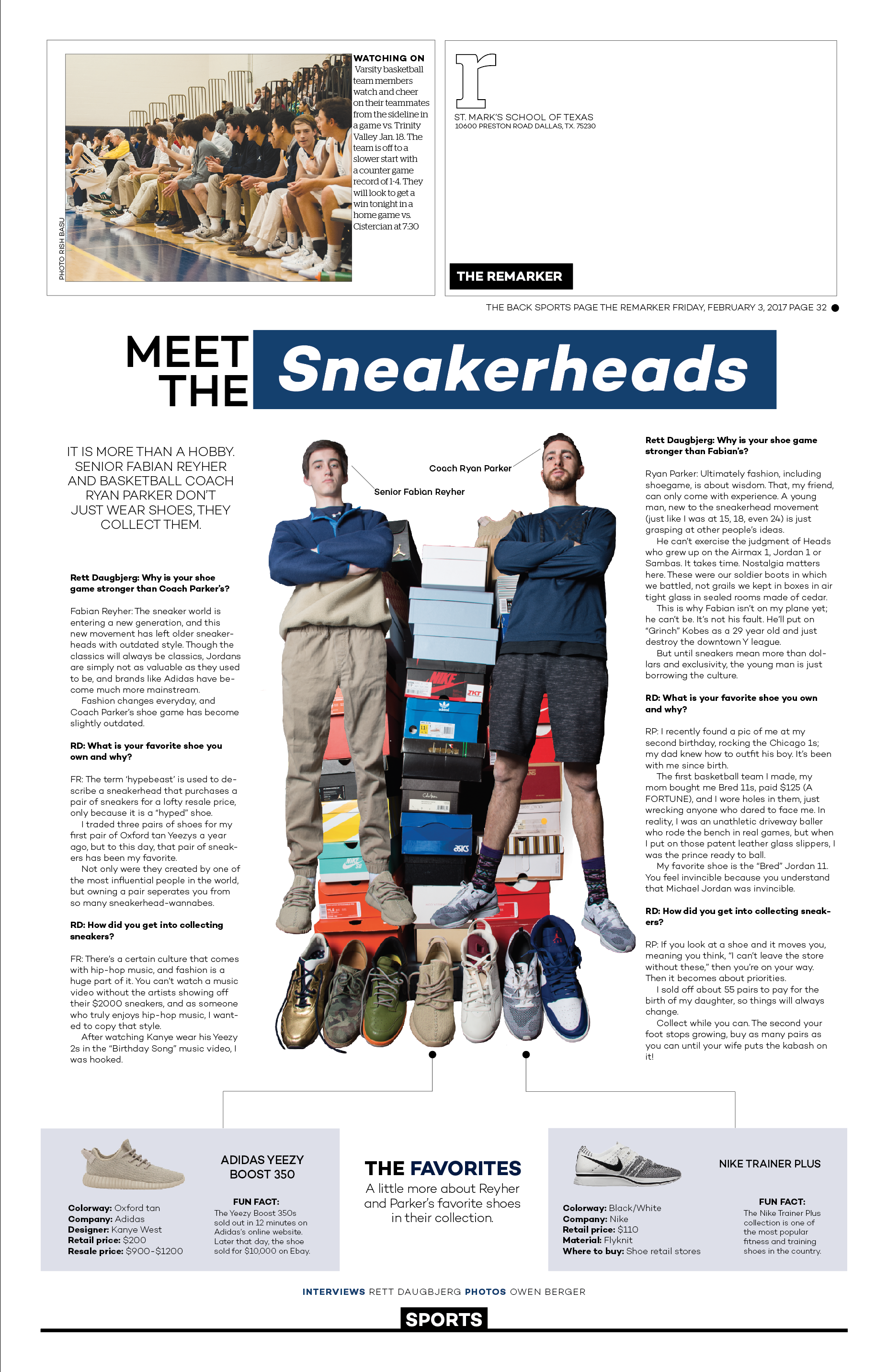 """For our most recent issue, I had an idea for an unorthodox backpage of two people on campus who love collecting shoes. Dubbed the """"sneakerheads,"""" senior Fabian Reyher and coach Ryan Parker are displayed on this page as the dominant visual with supplementary infographics and body copy."""