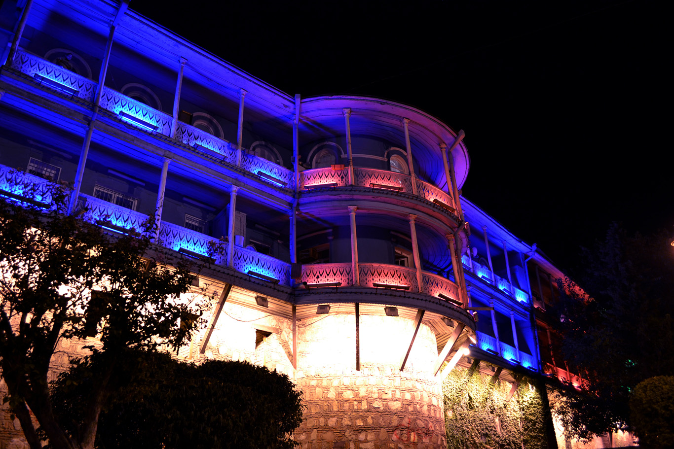 Colorfully illuminated balconies in Tbilisi