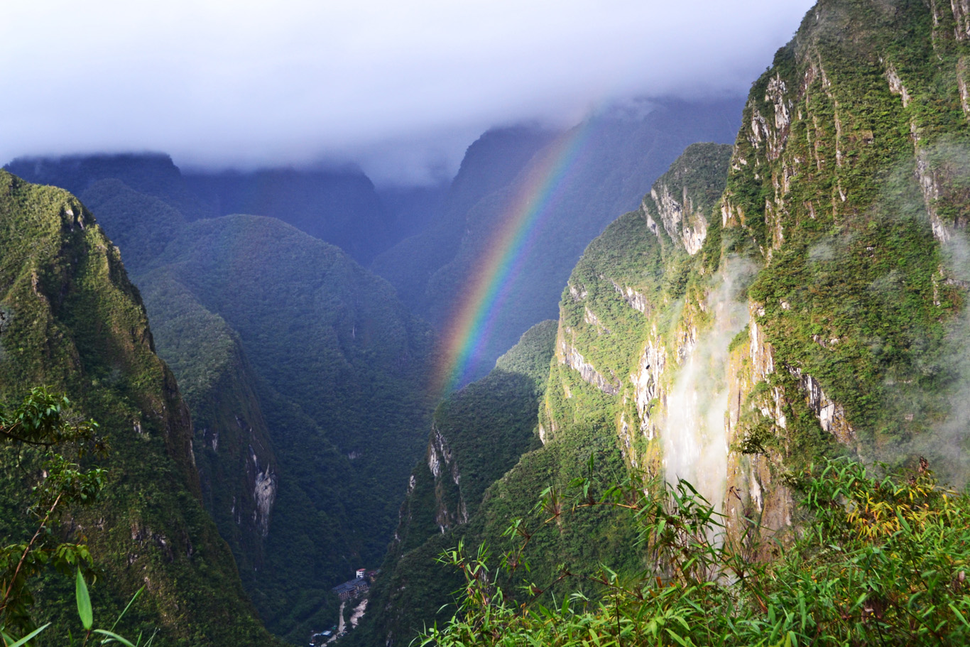 Rainbow at Machu Picchu, down in the valley - Aguas Calientes