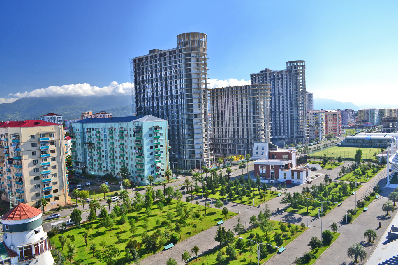 Colorful soviet-era buildings among new hotels under construction