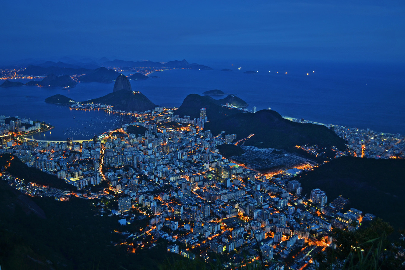 Rio after dark - view from Corcovado hill