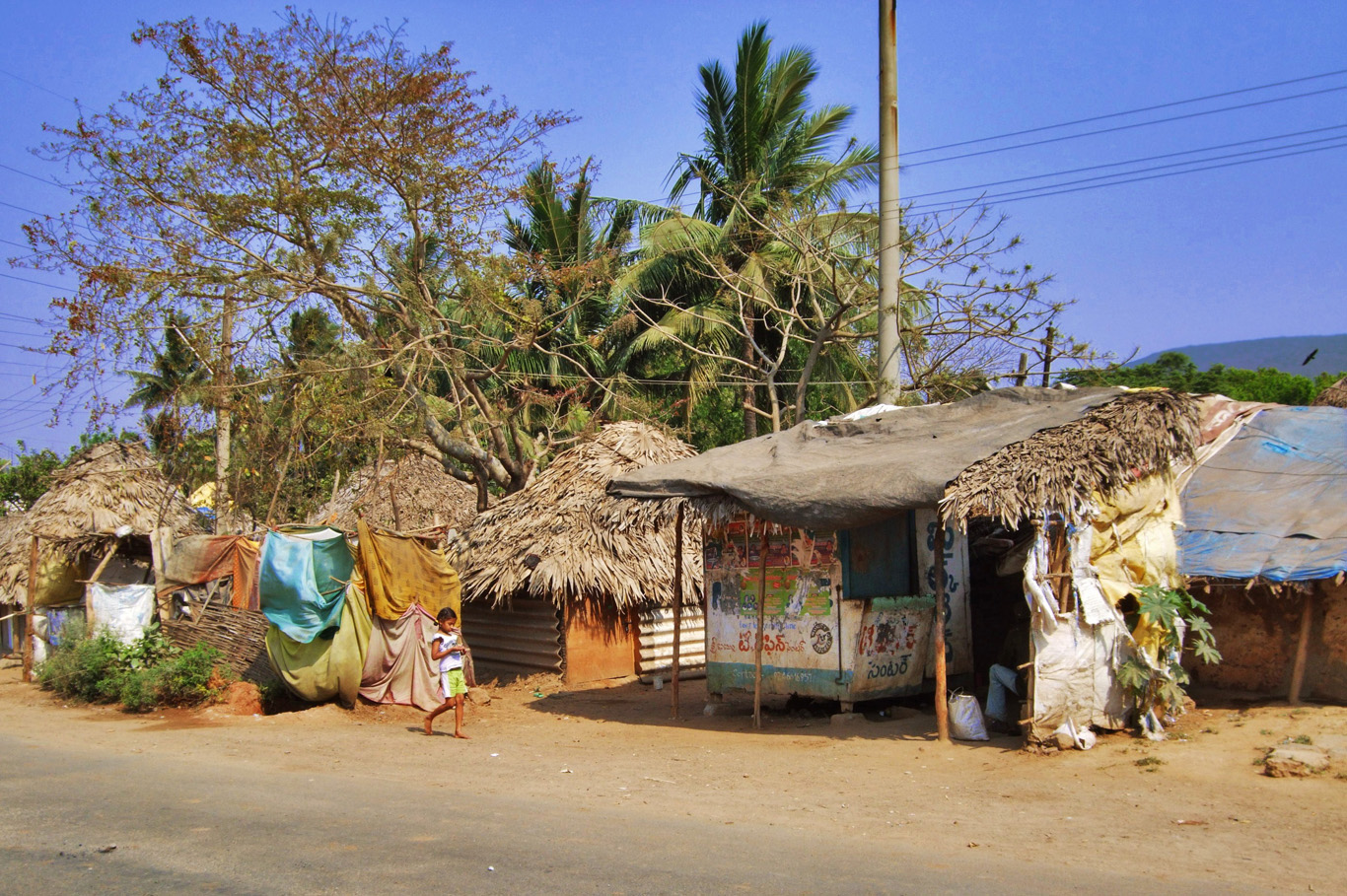 Huts in the very center of Visakhapatnam