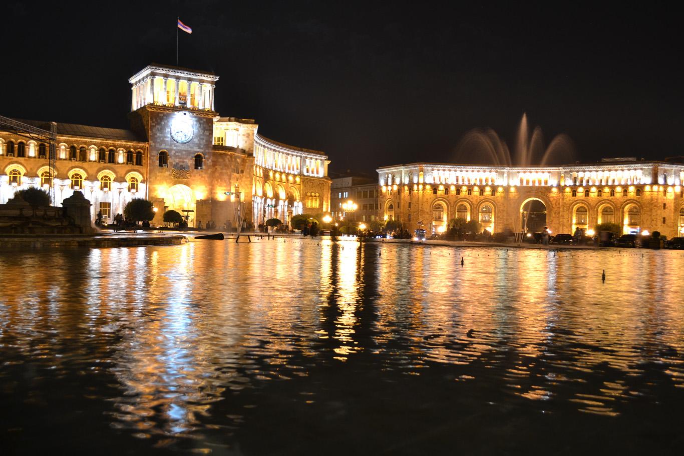 Republic Square at night
