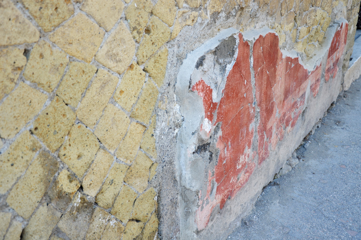 Outside wall of one of the houses in Herculaneum