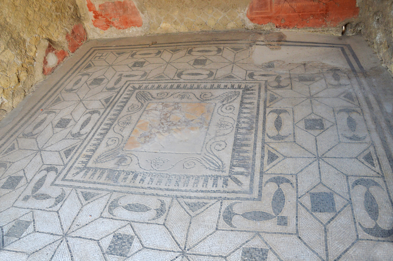 Mosaic on the floor of one of the houses in Herculaneum
