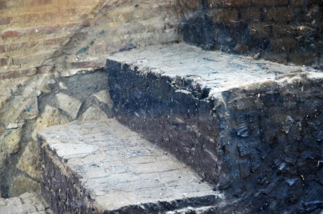 Original wooden stairs in Herculaneum