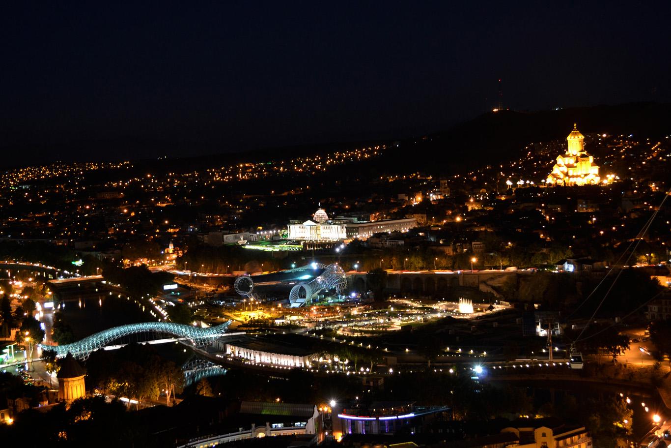 Nighttime view from Narikala fortress
