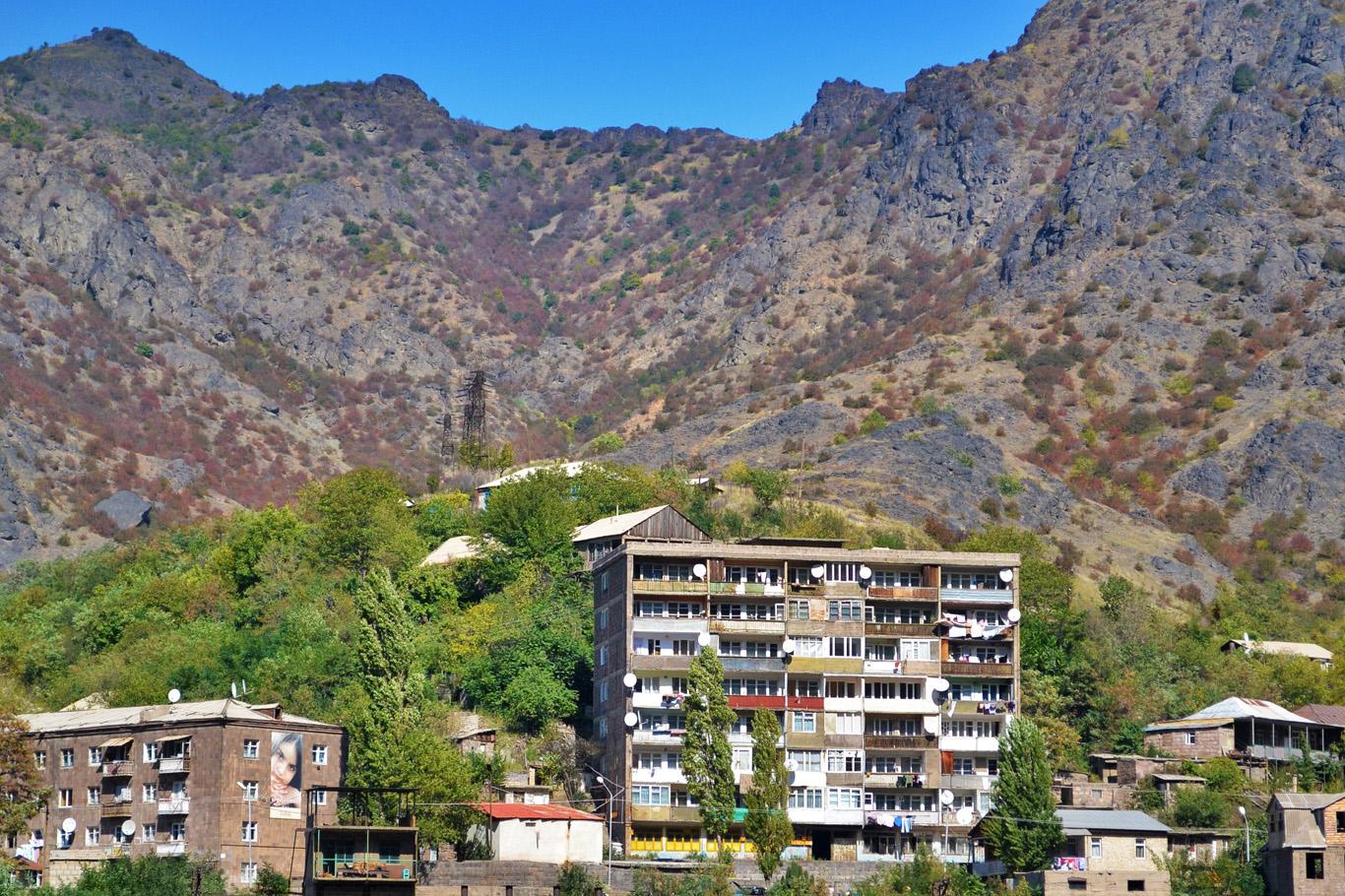 Soviet era apartment blocks spoil the landscape