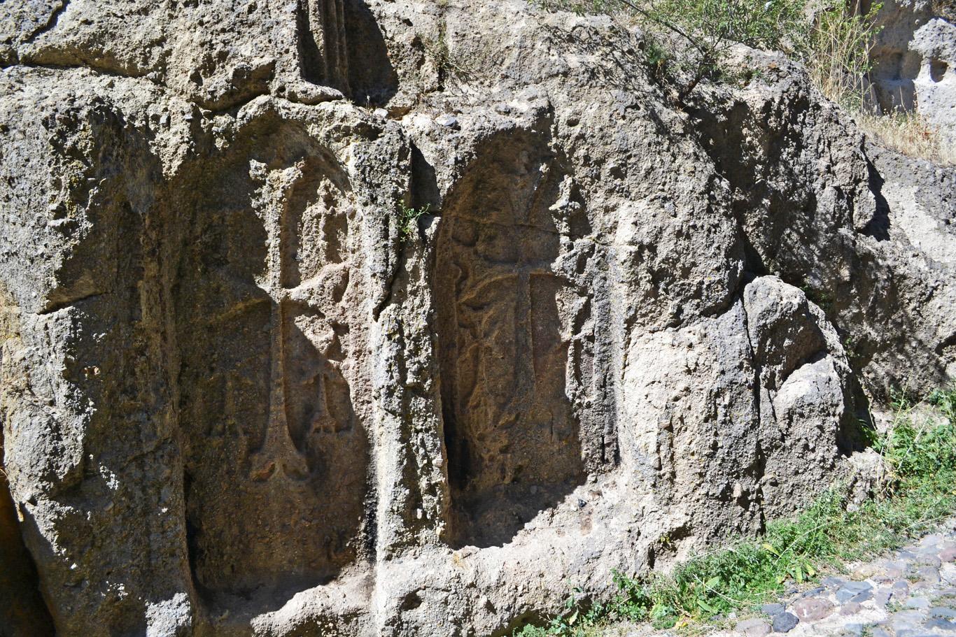 Crosses at Geghard Monastery