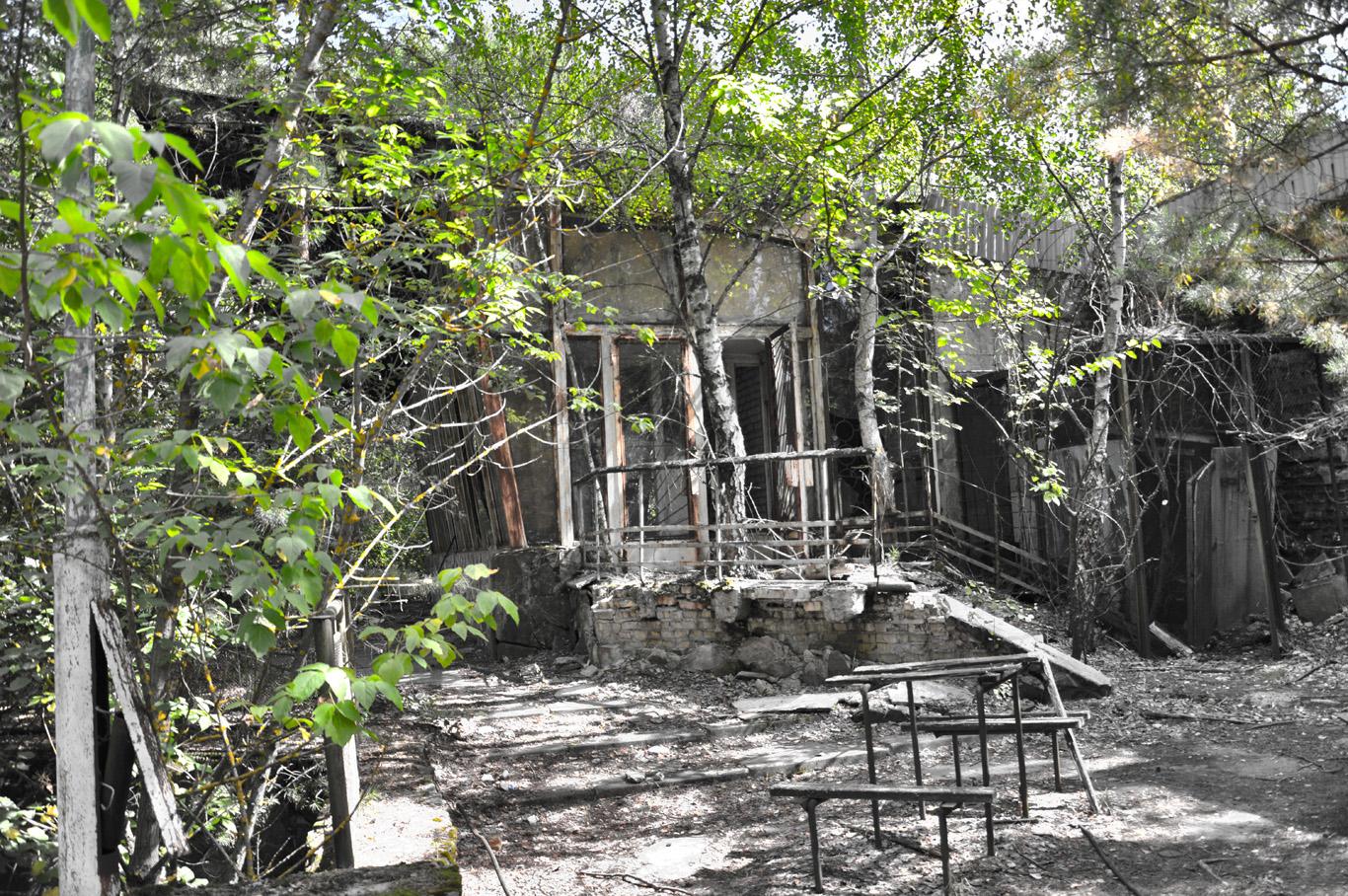 Falling apart buildings in Pripyat