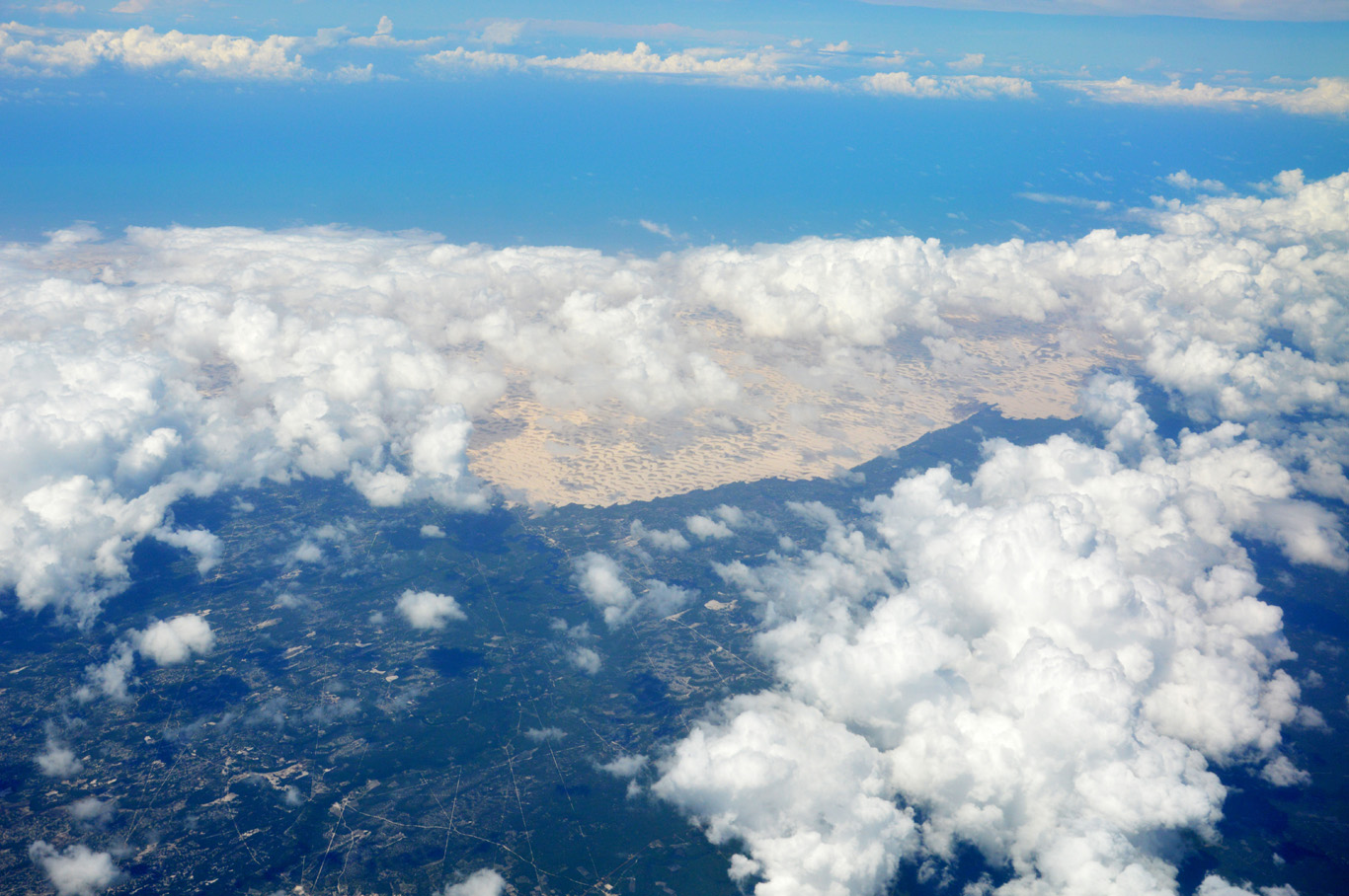 Sea, sand dunes and green rain forest - aerial view