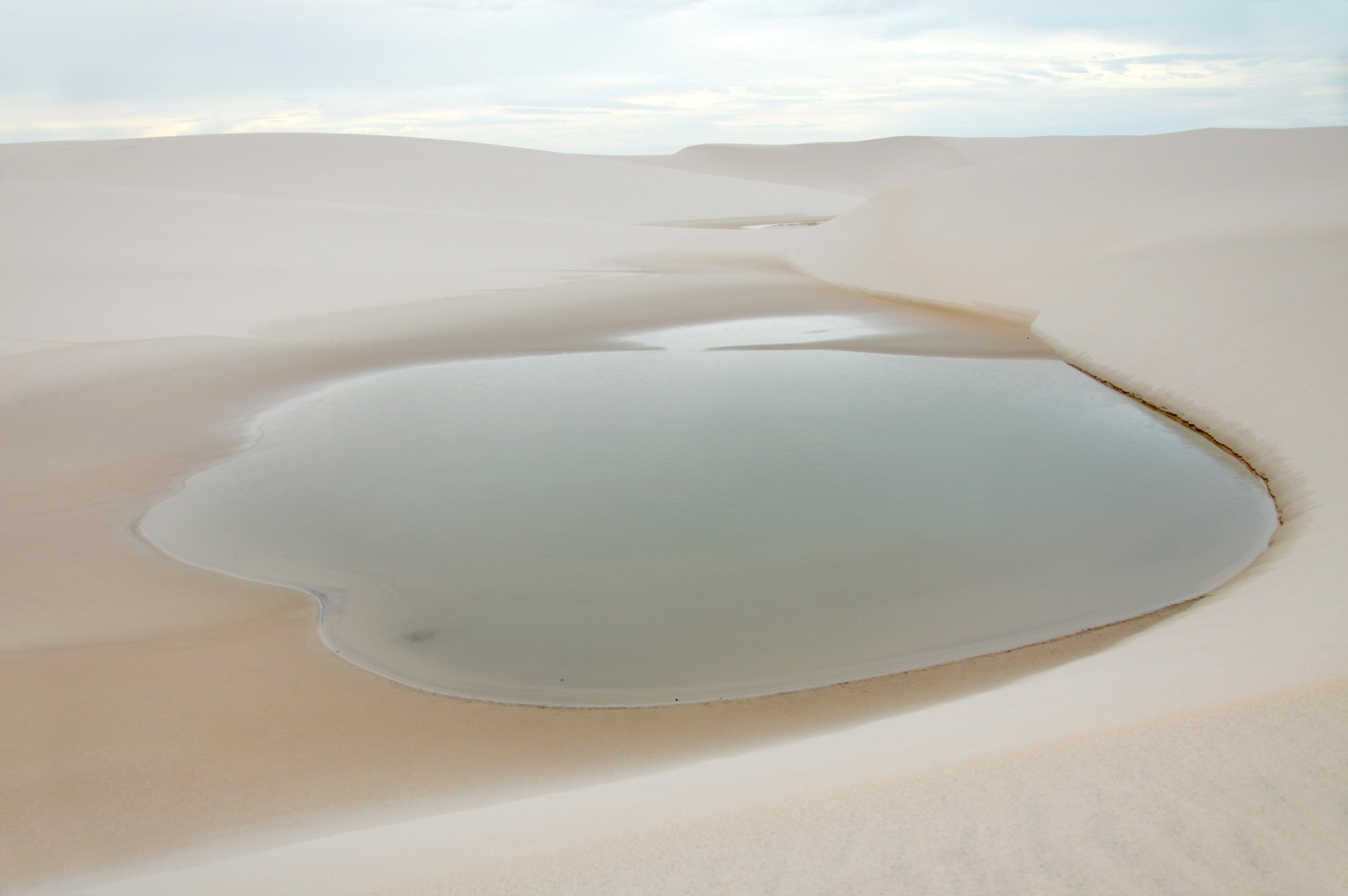 One of the lakes in the middle of the desert-like landscape