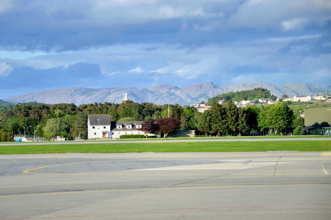 Mountainous scenery at Stavanger Airport