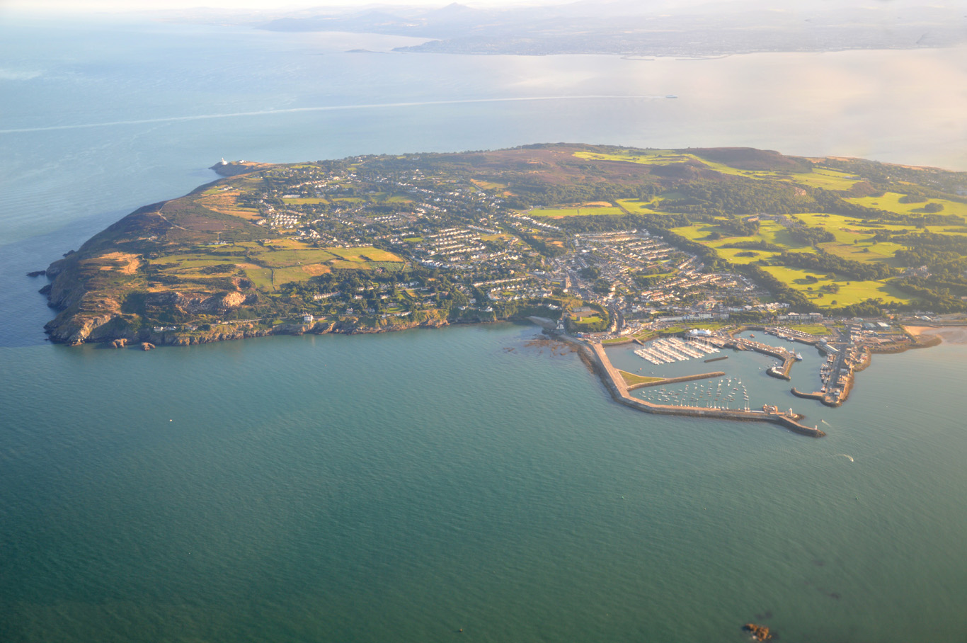 Howth Peninsula seen from an airplane while descending to Dublin Airport